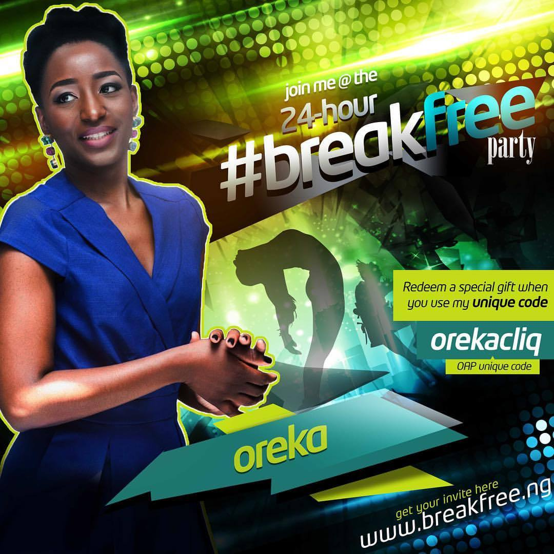 Get your invite to the 24-hour party and a special gift when you register on  www.breakfree.ng  with my unique code. #BreakFree @breakfreeng