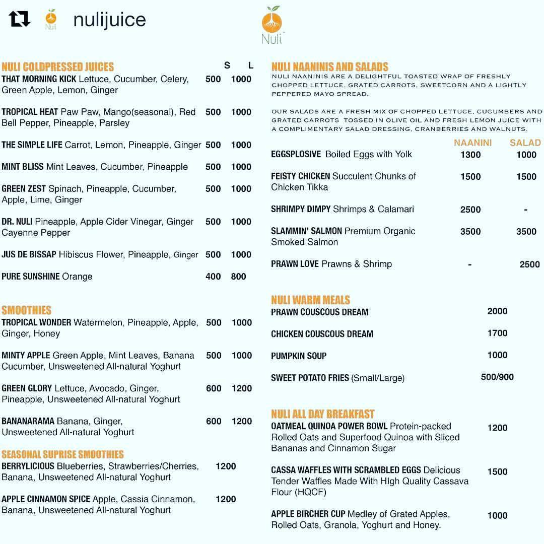 #Repost @nulijuice  ・・・  NULI LOUNGE MENU. (Zoom In). Taking deliveries only in Lagos. 09099449566 or 08187475929  Abuja residents, our lounge is still up and running in Food city, Wuse 2. Please visit us. Menu also on  www.nulilounge.com . #NuliIkoyiLivesOn #WeWillRise #MoreThanJustTheJuice #Smoothies #Naaninis #UniqueSalads #SweetPotatoFries #InspiringAHealthierAndHappierGeneration
