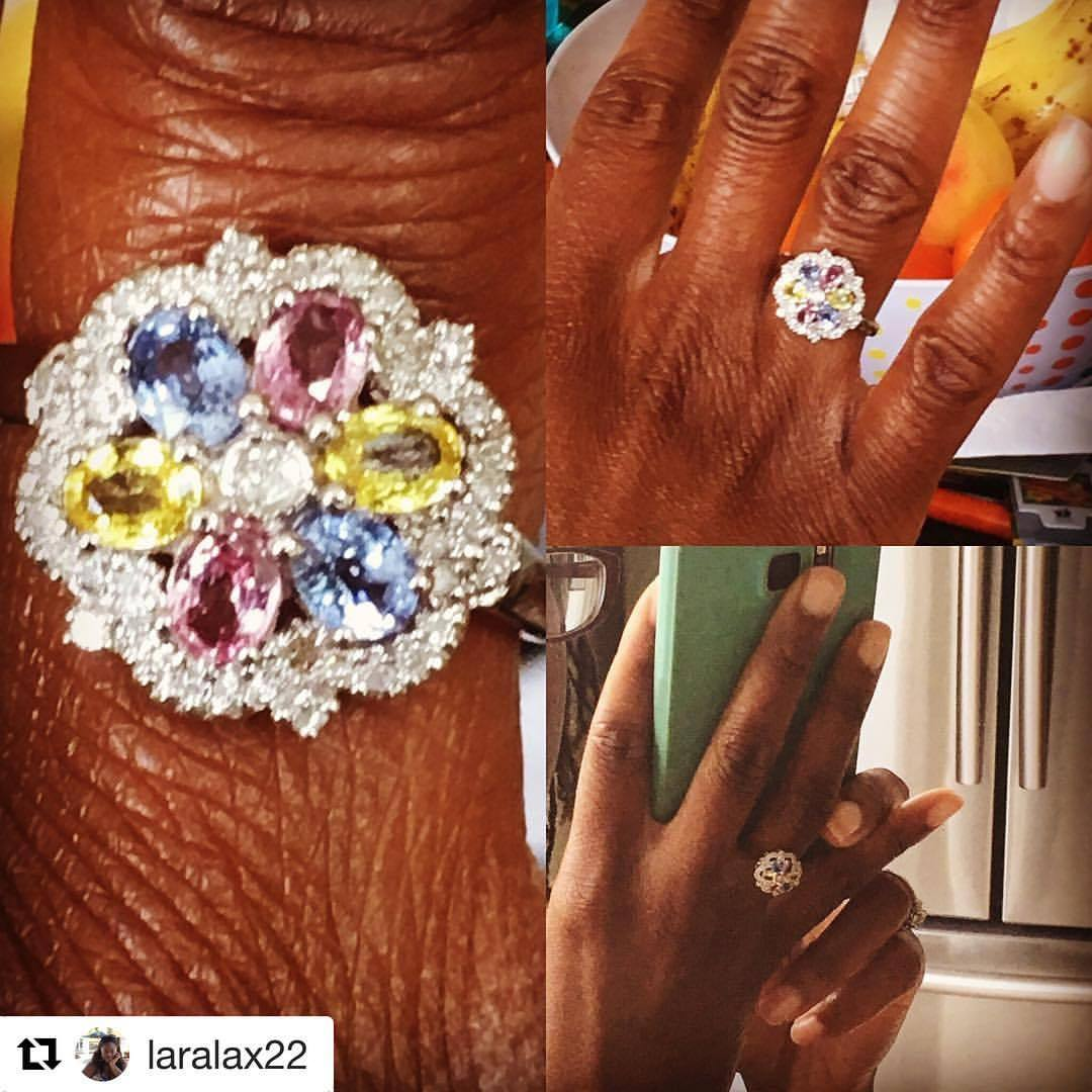 #Repost @laralax22  ・・・  My friends' stunning ring - pink, yellow and blue sapphires encased in diamonds on white gold. Isn't it pretty?   She makes bespoke jewellery to order but I'm trying to convince her to open her own line. This only costs £250 which is a crazy price when you think of what is out there. What do you think? DM @tenicardoso for queries.   Ok she's just challenged me to get a 100 likes for her to reconsider. I think that will cover as many people reposting this so please repost/retweet 😉