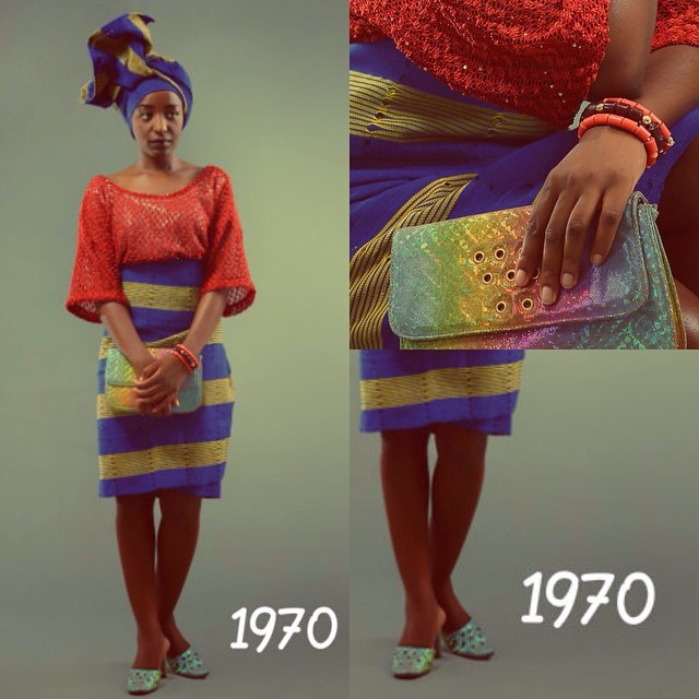 Check out my bata ko-ko-ka & matching bag ☺️      @afwlandafwn's 'THE EVOLUTION OF IRO AND BUBA' contest is on for THREE weeks only!   To enter, use the hashtag #AFWNContest when you post a picture of yourself/friend/family on your social media wall. Pictures from any decade welcome - like my attempt at recreating the rockies 70's here for instance.       See  www.africafashionweeknigeria.com  for full details on the contest and what's up for you to win.       #AFWN #AFWN2015 #IroAndBuba #Ankara #Damask #AsoOke #TieAndDye #Lace #Sequins #Aso #AsoEbi #AsoEbiBella #AsoEbiAfrica #OOTD #Naija #NaijaFashion #NaijaFashionDaily #StyleMeAfrica #TimeCapsule #Nigeria #TimeLord #Tradition #Culture #Iro #Buba  #Fashion #Homegrown #Traditional #AnkaraFashion #Africa #Fashion  #Tardis #1970 #70s #Vintage