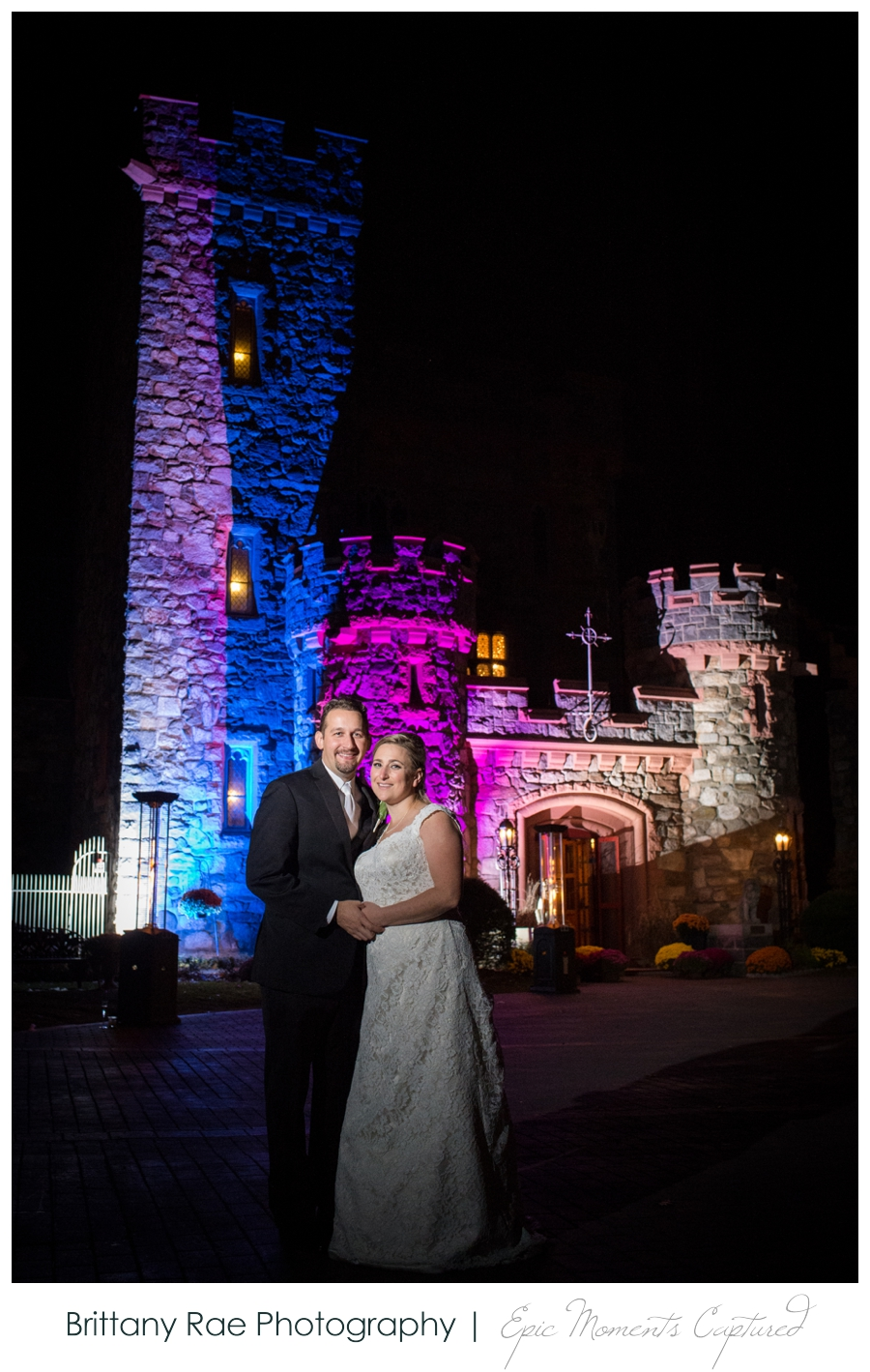 Searles Castle Wedding in Fall - Castle Lit at Night