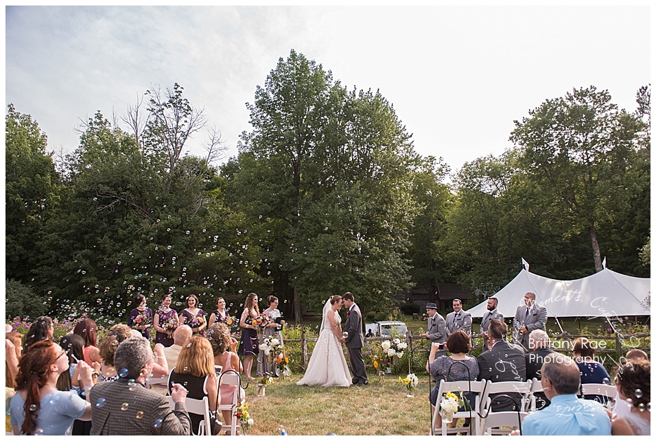 Backyard Tented Wedding in Buxton Maine - Ceremony with Bubbles