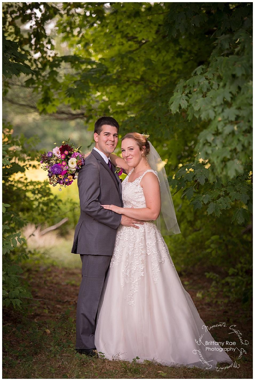 Backyard Tented Wedding in Buxton Maine - Wooded Wedding Portrait