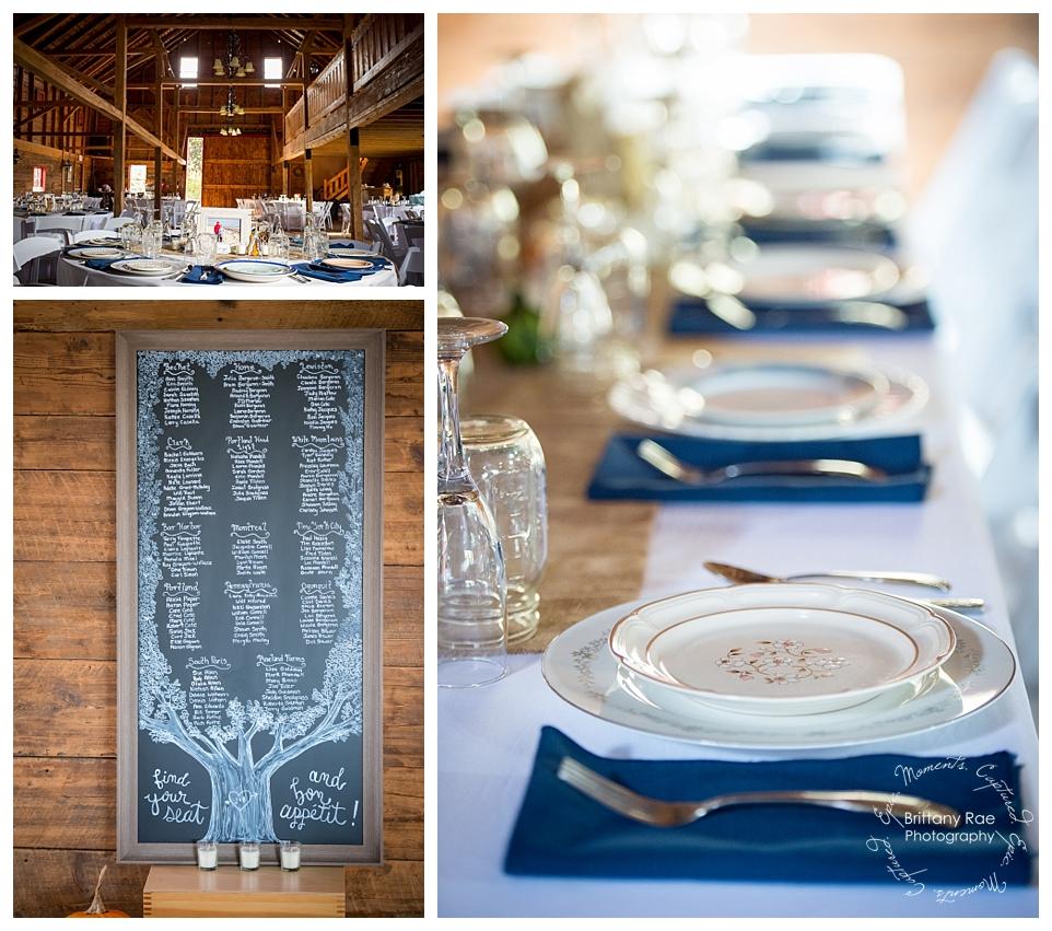 King's Hill Inn and Barn - Maine Barn Wedding by Maine Wedding Photographers - Vintage Plates at Wedding