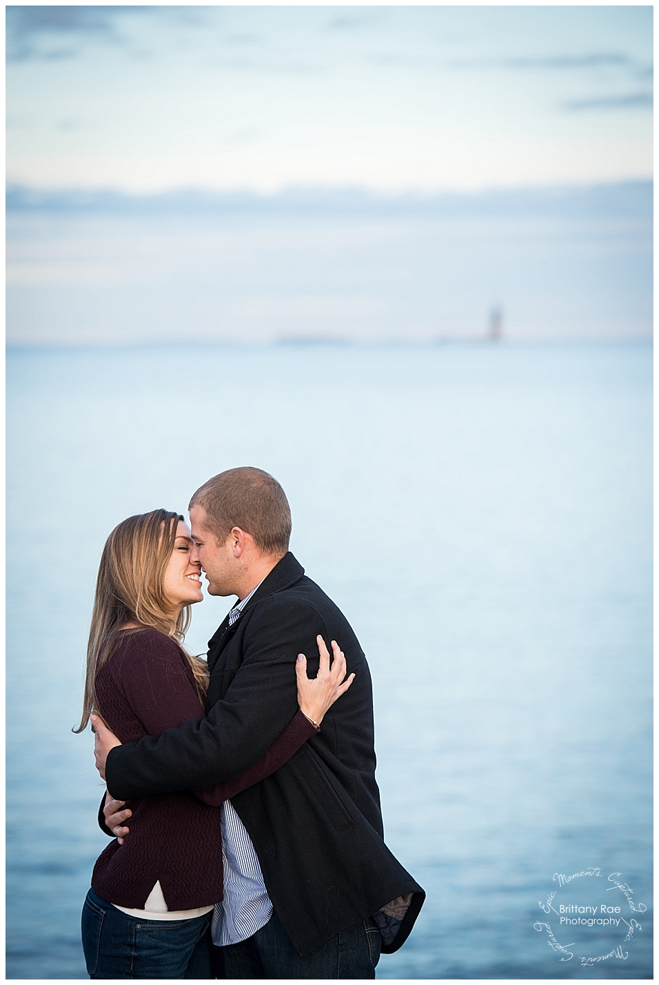 Portland Engagement and Portland Headlight engagement by Maine Wedding Photographers - Romantic Beach Portraits