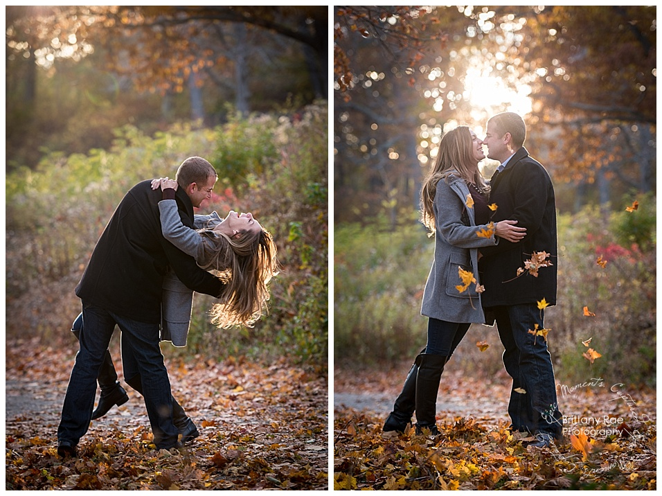 Portland Engagement and Portland Headlight engagement by Maine Wedding Photographers - Playing in the leaves engagement