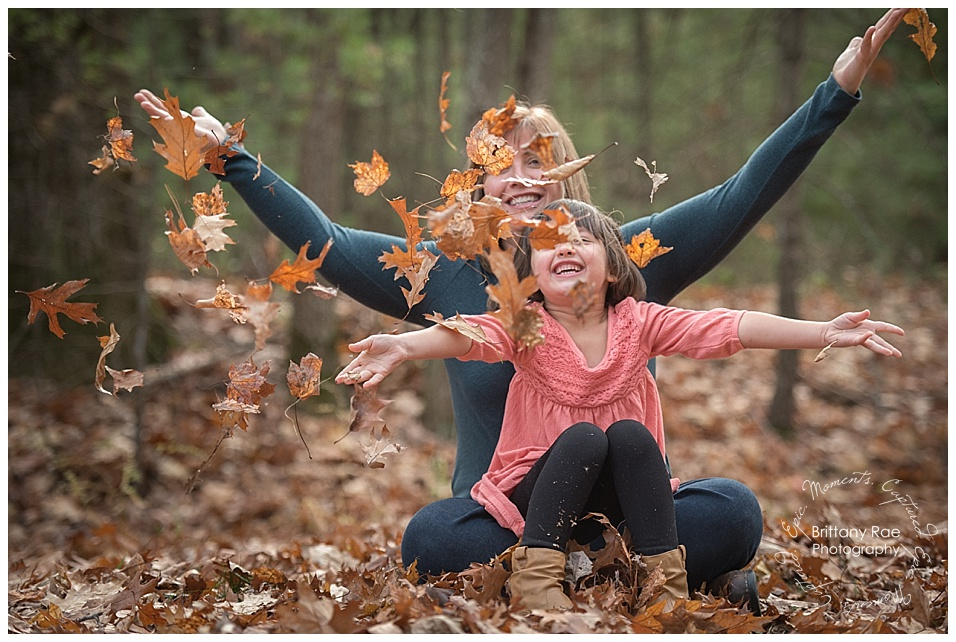 Fall Family Portraits in Scarborough Maine by Maine Family Portrait Photographers - Family in Leaves