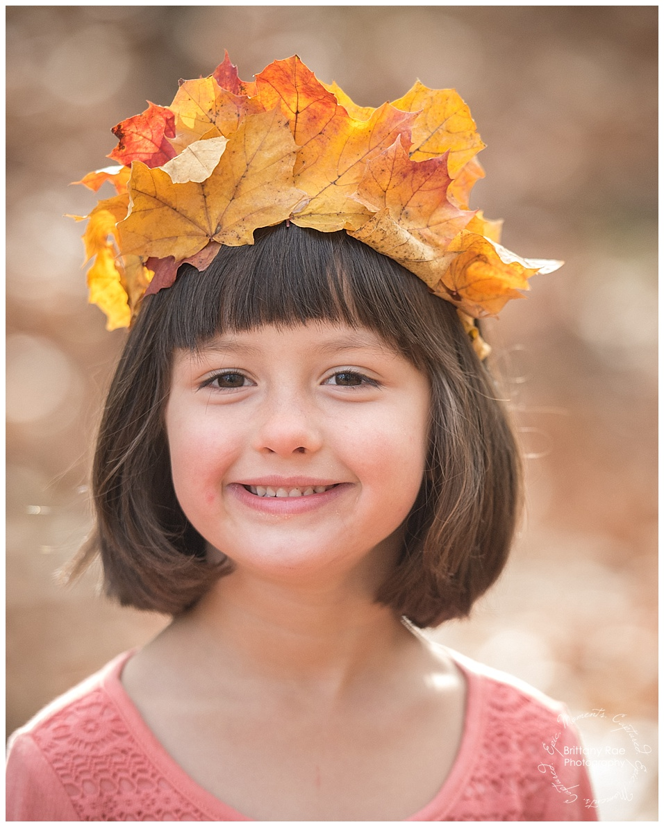 Fall Family Portraits in Scarborough Maine by Maine Family Portrait Photographers - Leaf Crown
