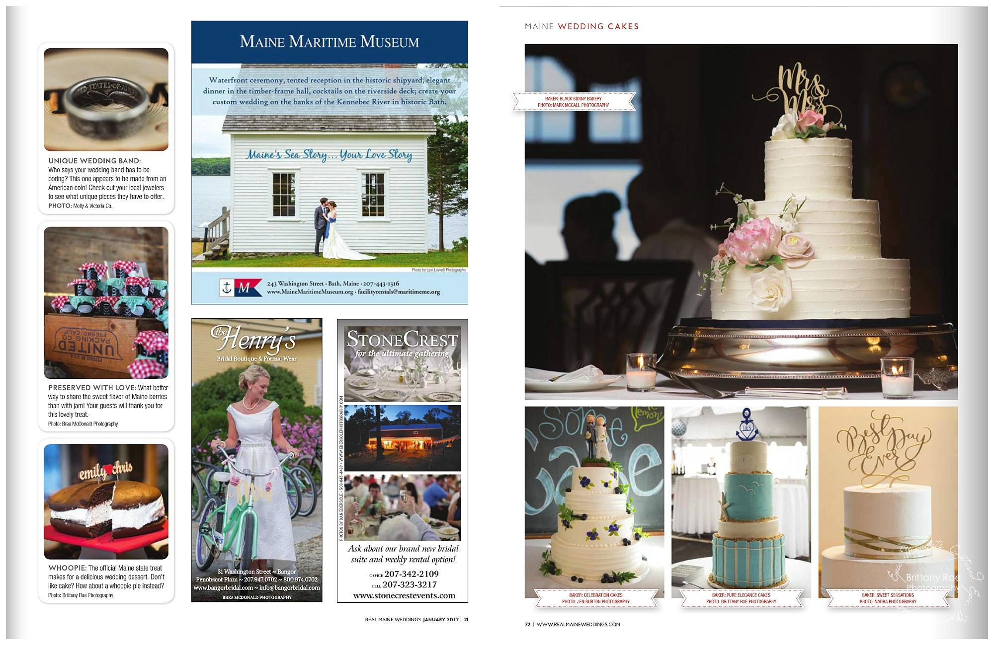 Maine Wedding Photographers Published in Real Maine Weddings Magazine - Nautical Wedding Cake Inspiration by Pure Elegance Cakes