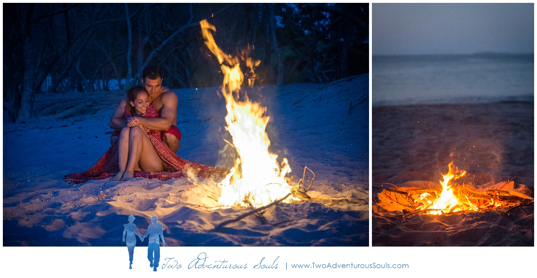 Engagement session in Costa Rica, Playa Minas, Costa Rica Wedding Photographers - Bonfire on the beach in Costa Rica
