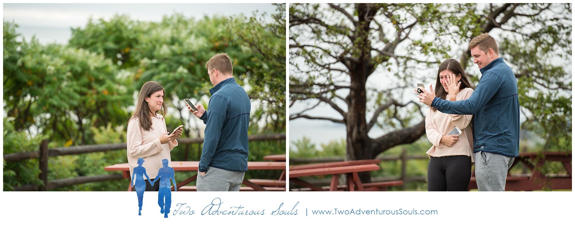 Portland Headlight Surprise Proposal by Maine Wedding Photographers - Two Adventurous Souls -