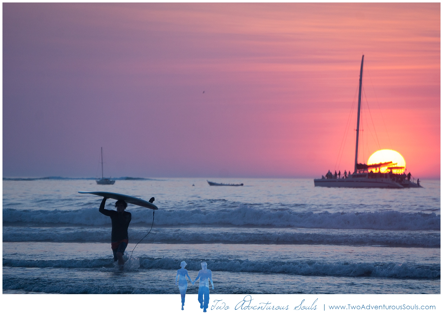 Tamarindo Costa Rica Fine Art Photographers, Maine Fine Art Photographers - Surfers in Tamarindo at Sunset