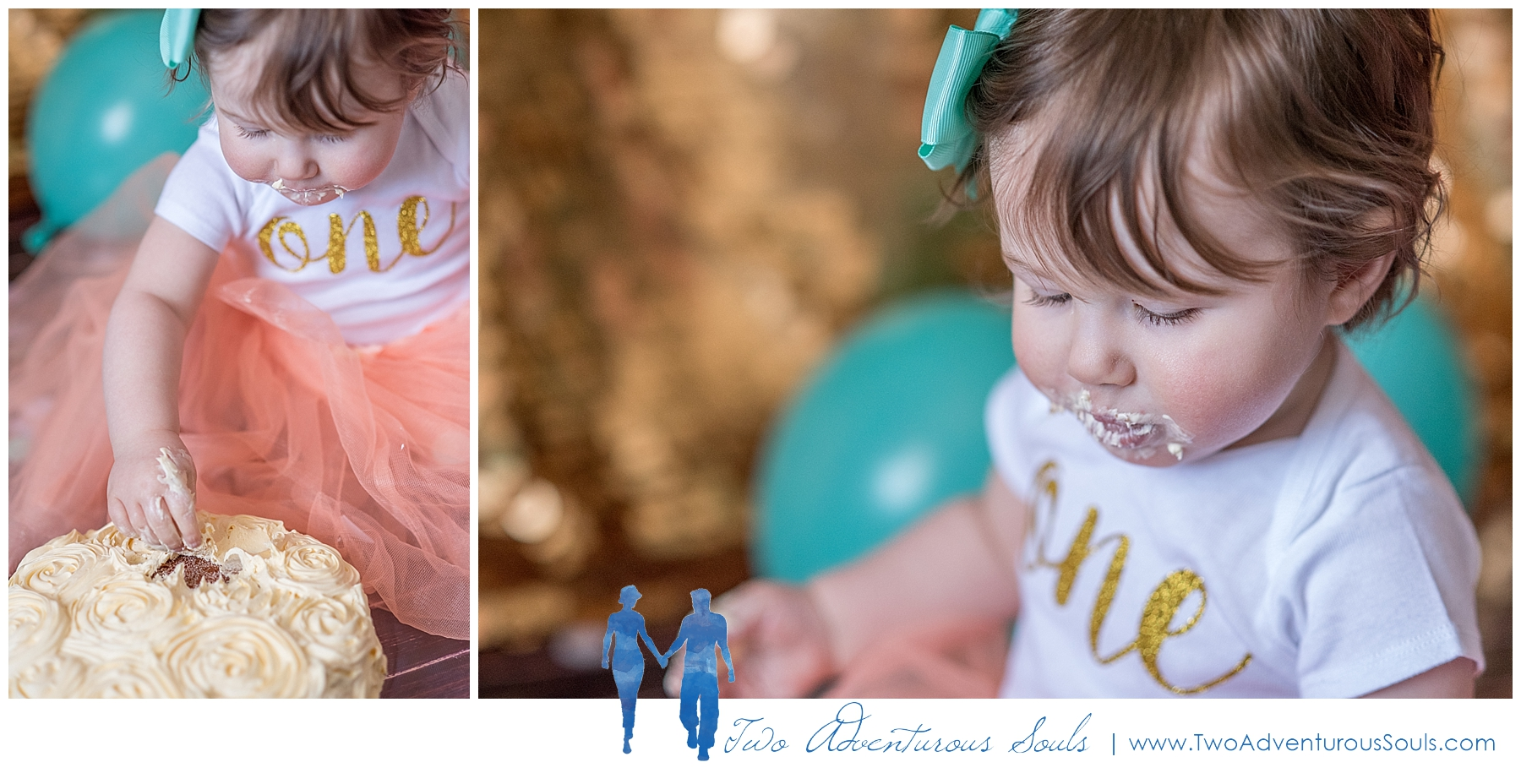Maine Family Photographer, Two Adventurous Souls - Gold and Teal Cake Smash Session - 3