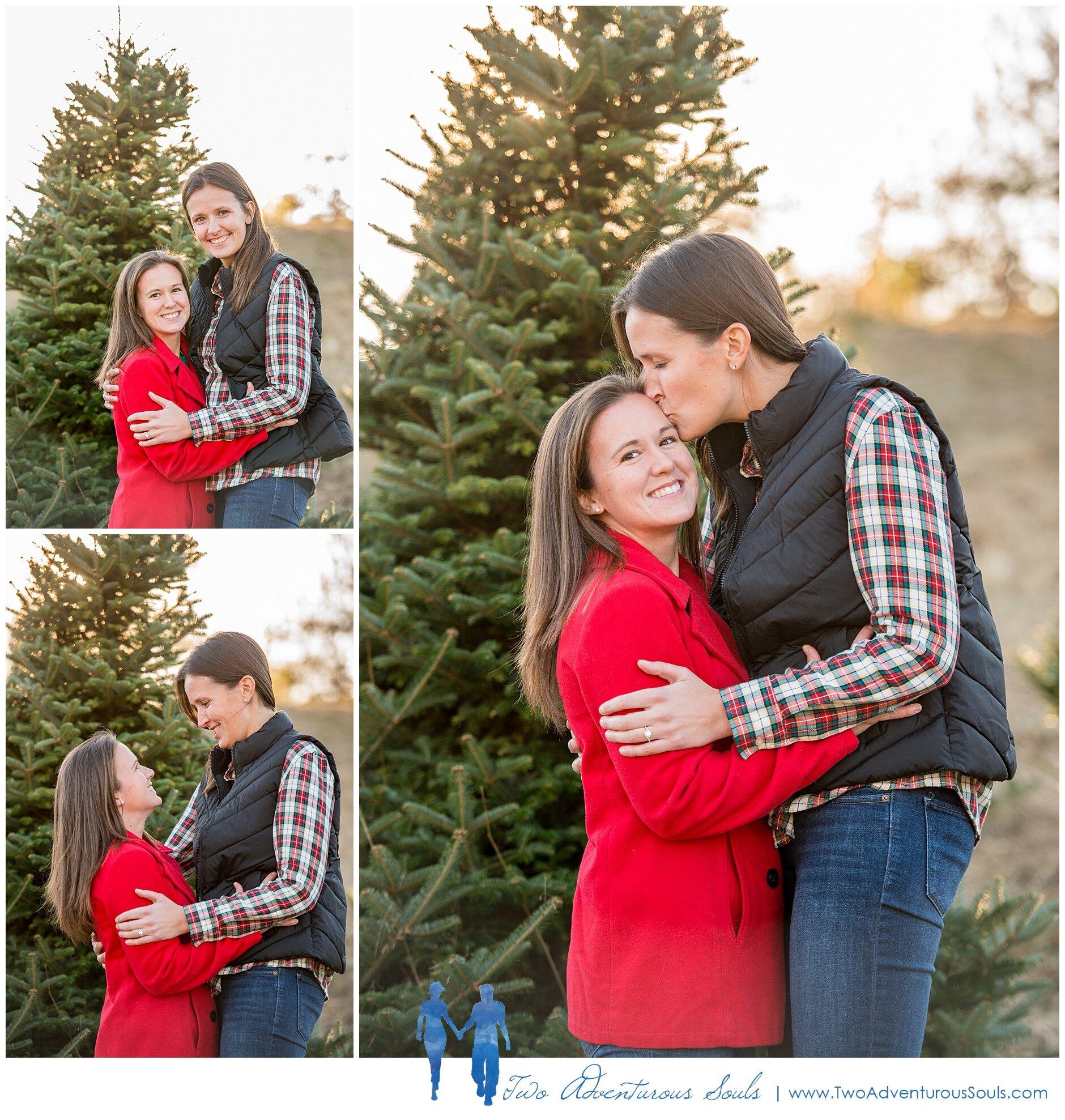 Meghan And Rachel S Christmas Tree Farm Engagement Two Adventurous Souls