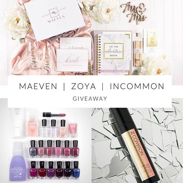 💕Maeven, Zoya & InCommon Giveaway 💕 We are joining forces with two of our favorite brands, Zoya and InCommon for an amazing giveaway!  One lucky winner will receive: A 2-Month Maeven Bride Box Subscription (valued at $103.00), A Zoya Products Bundle (valued at $204.99) & an InCommon Magic Myst Universal Elixir (valued at $35)  How to Win: 1️⃣ Follow @maevenbox, @zoyanailpolish and @incommon 2️⃣ Like this post and comment below 3️⃣ For additional entries, tag your friends in the comments!  For two additional ways to enter: 1️⃣ Enter on the Maeven Box Facebook page 2️⃣ Enter with email on the Giveaways page on the Maeven Box website (link in bio)  Winner will be chosen at random and will be announced Tuesday, April 2, 2019. *This giveaway is only open to U.S. residents and closes at 8am CST on Tuesday, April 2, 2019. This promotion is in no way sponsored, administered, or associated with Instagram, Inc. By entering, entrants confirm they are 18+ years of age, release Instagram of responsibility, and agree to Instagram's terms of use. No purchase necessary to enter or win. Void where prohibited. *