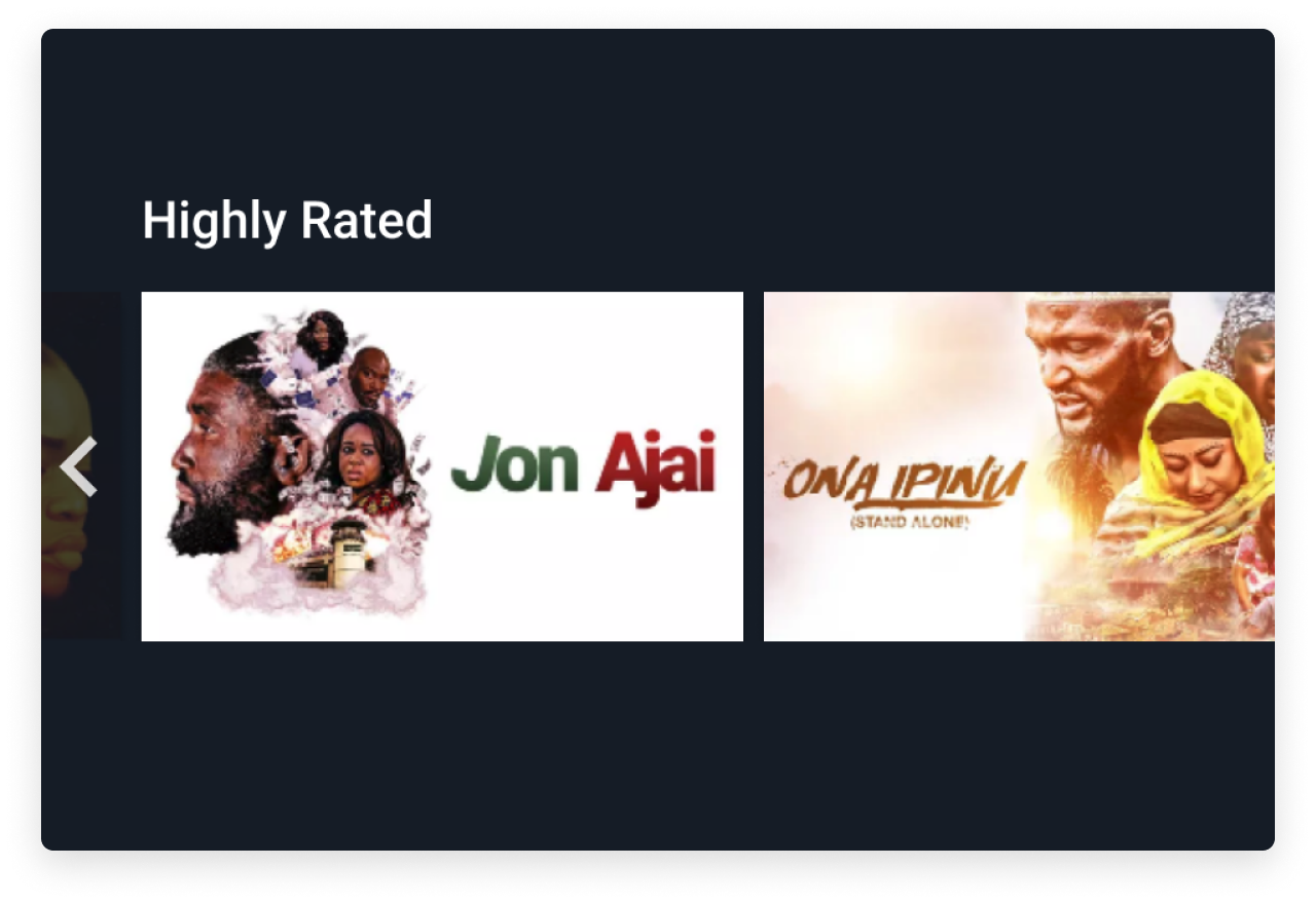 """Highly Rated - A collection of movies with a community rating above 85%, and not displayed in our new releases """"Featured"""" collection."""