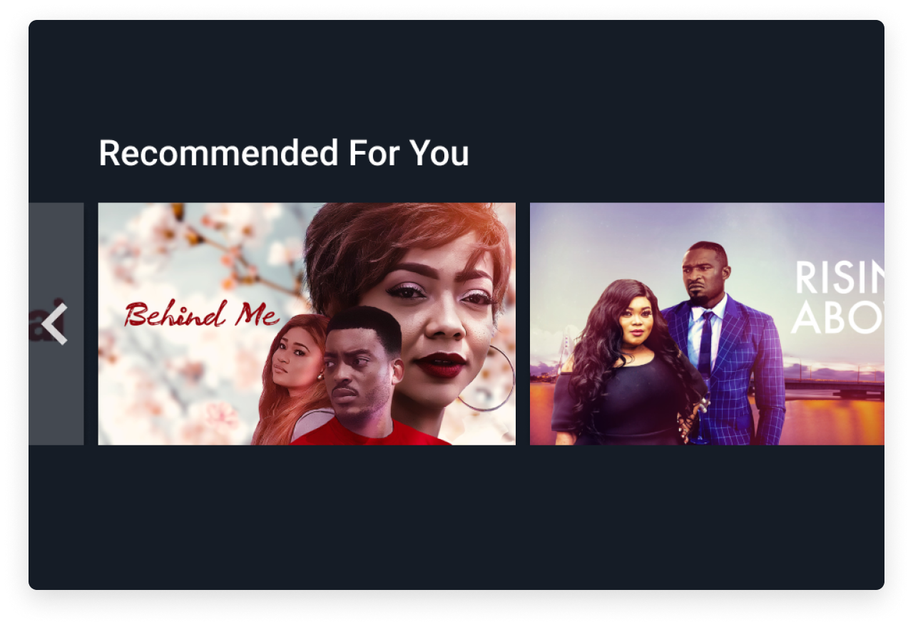Recommended For You - A collection of movies and series with a community rating above 85%, categorized under genres and starring actors favorited by the user.