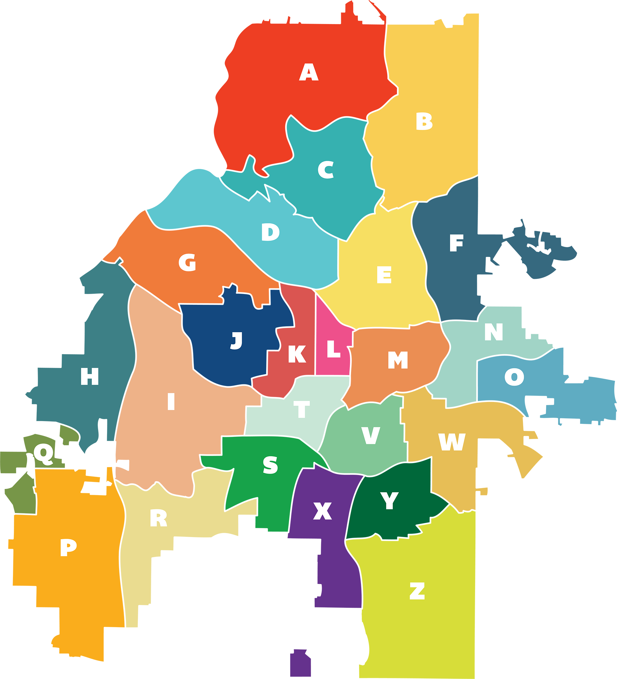The City of Atlanta is divided into25 NPUs. - Each contains at least two individual neighborhoods and has been assigned a letter of the alphabet from A to Z.**Except for U, because that would be confusing.