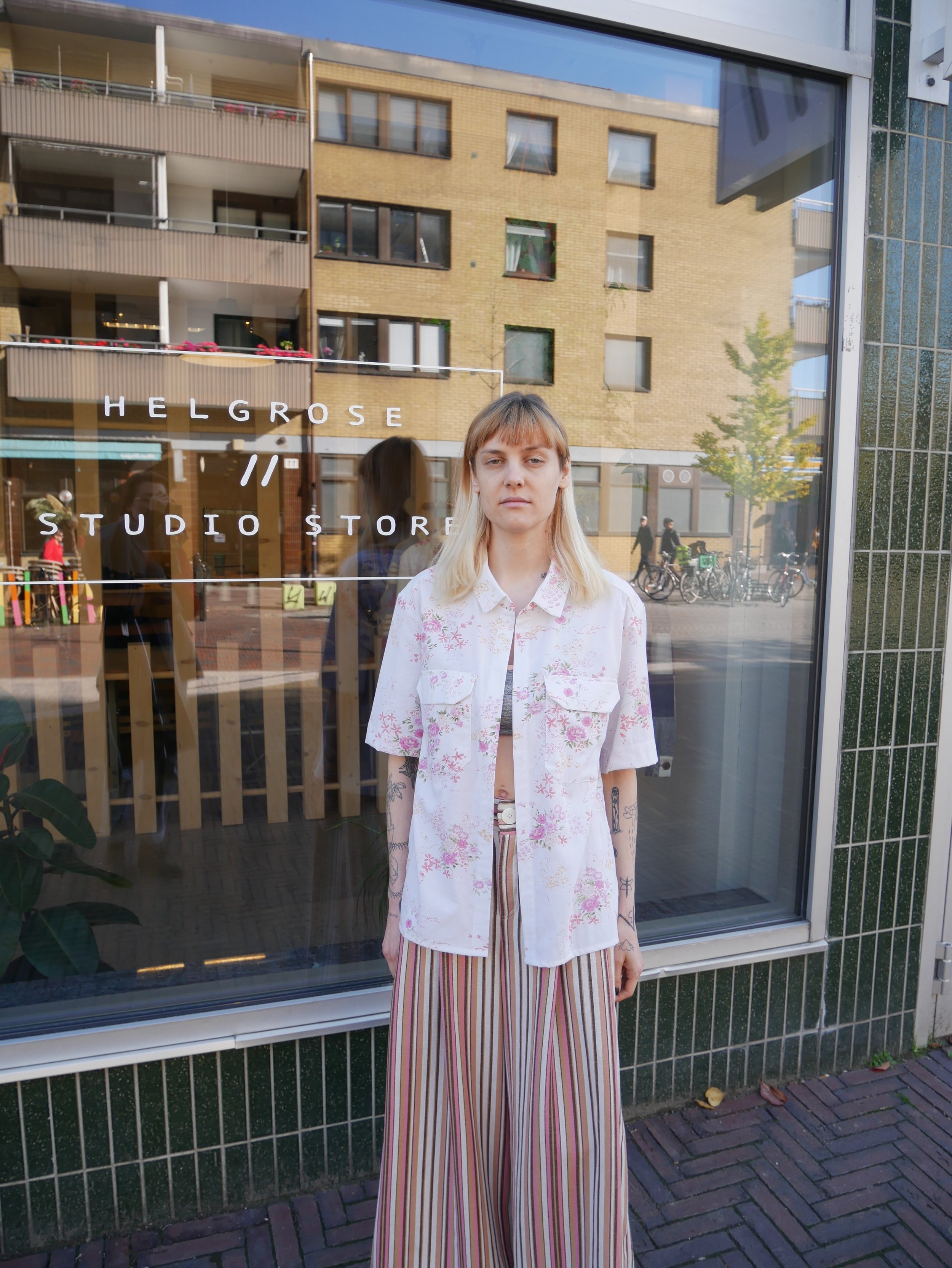 candy stripe culottes and floral vintage fabric shirt
