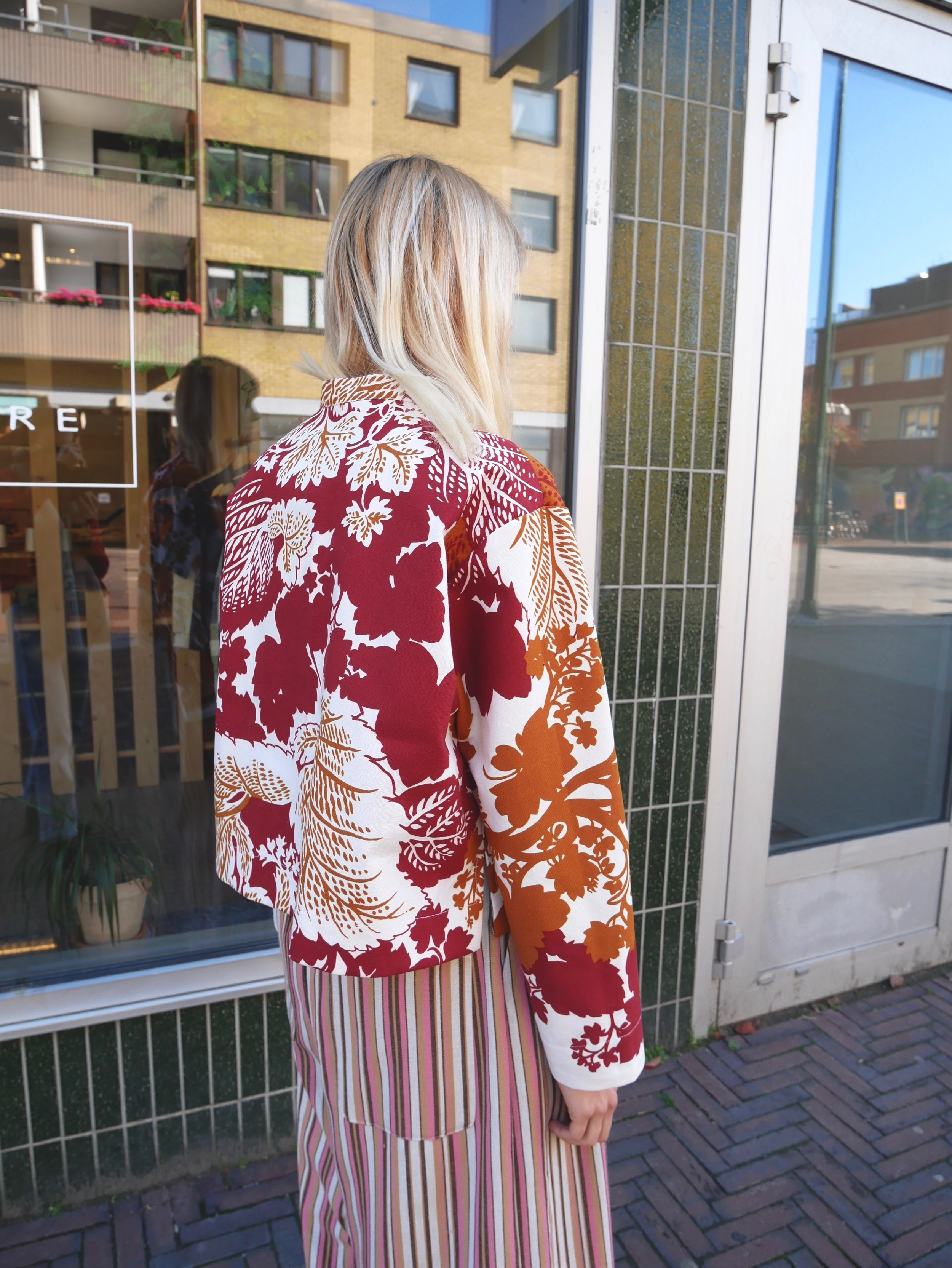 workwear jacket made from vintage floral fabric