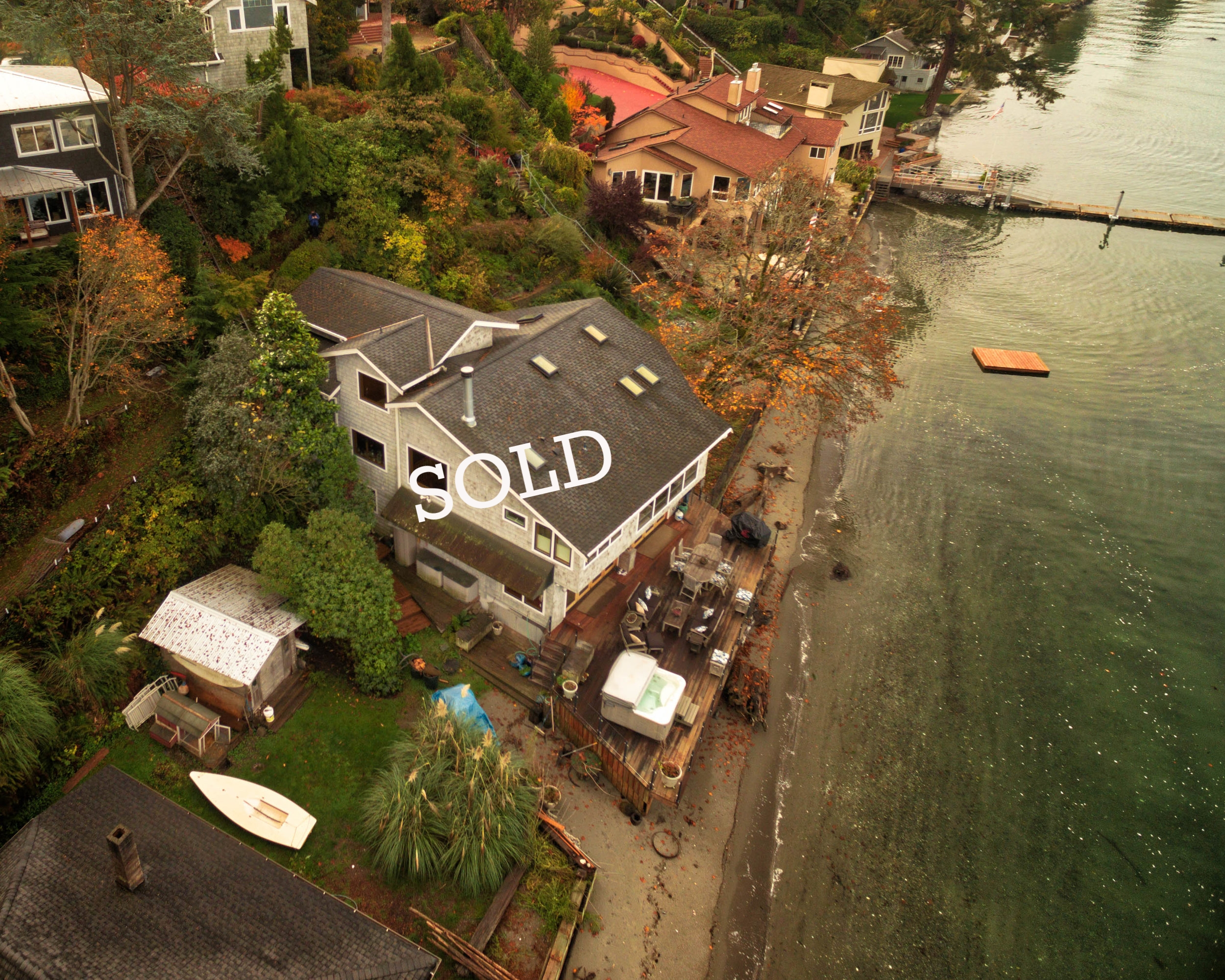 Redondo Beach, Washington - This beautiful waterfront home is equipped with an elevator to transport you from the deck to the upper landing where your vehicle awaits.