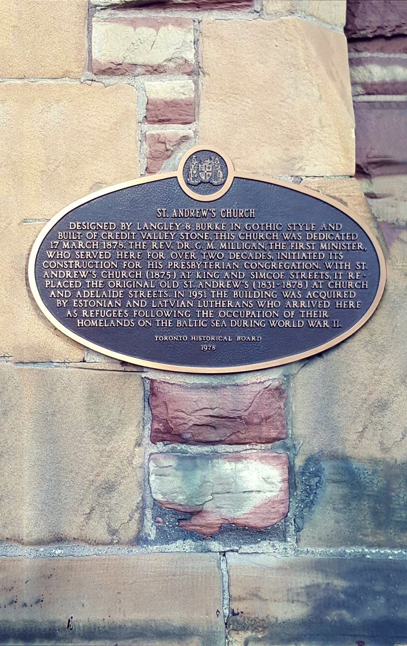 Commemorative Plaque at Old St. Andrew's Building, 1978  Photo by Shenlor Young and Leemarc Lao