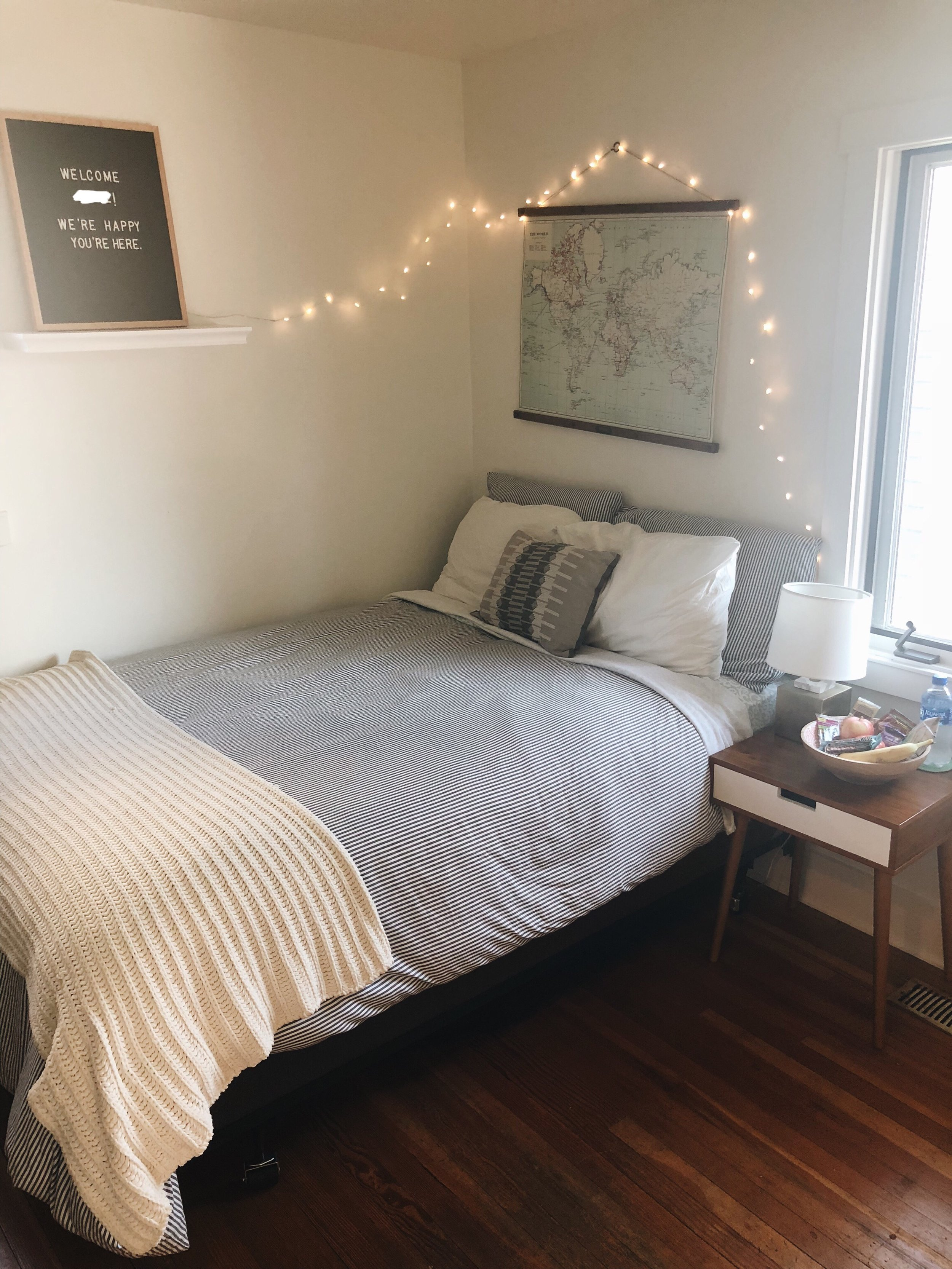 Our teens room 10 minutes before they arrived. We use string lights instead of night-lights and make sure to keep a fully stocked Yes! Basket and water by their bed.