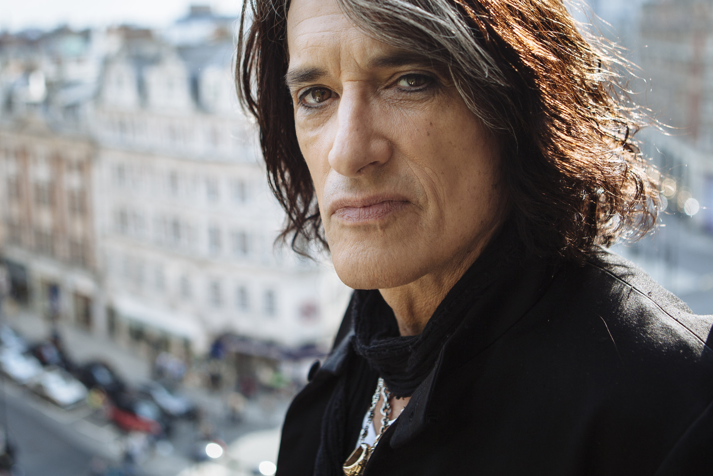 Recording artist Joe Perry of Aerosmith poses for a portrait following an interview at a hotel in central London, Monday, April 12, 2010. (AP Photo/David Azia)