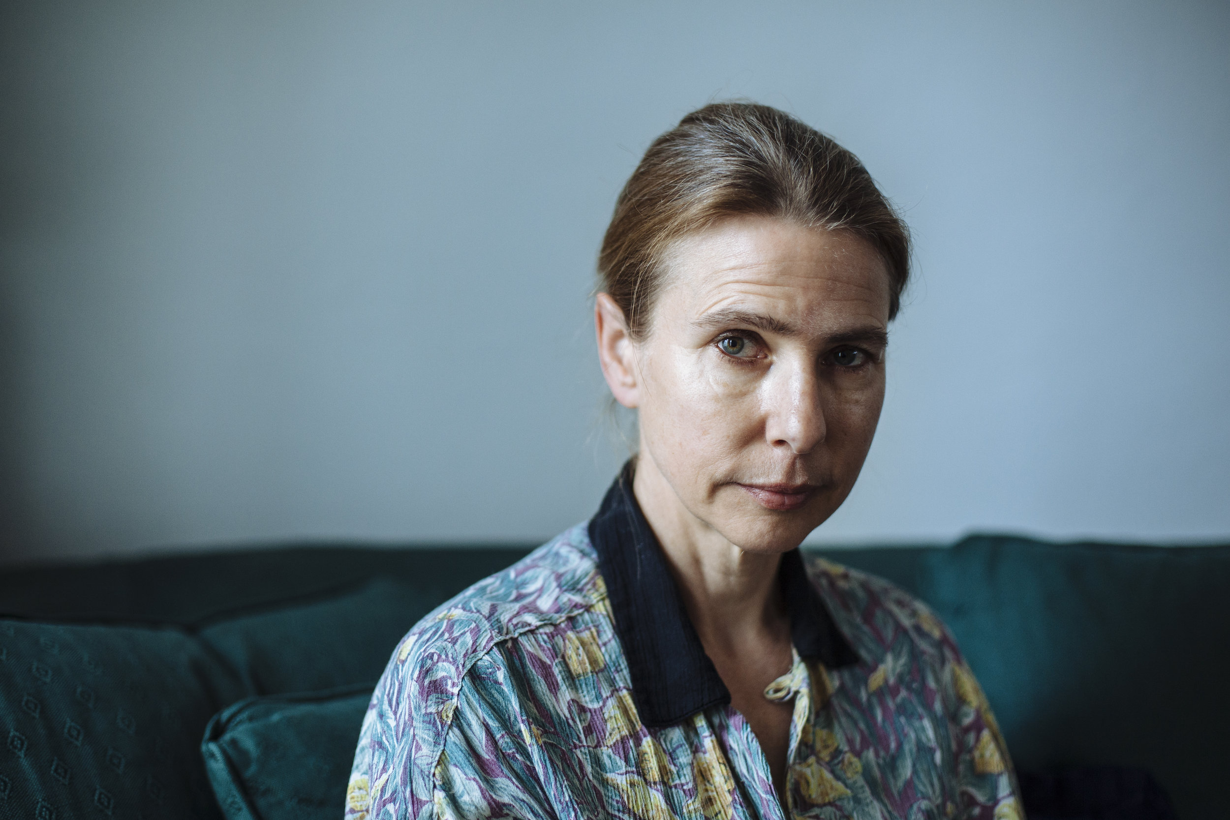 American author Lionel Shriver poses for a photograph at her home in southeast London, Tuesday, April 27, 2010. (AP Photo/David Azia)
