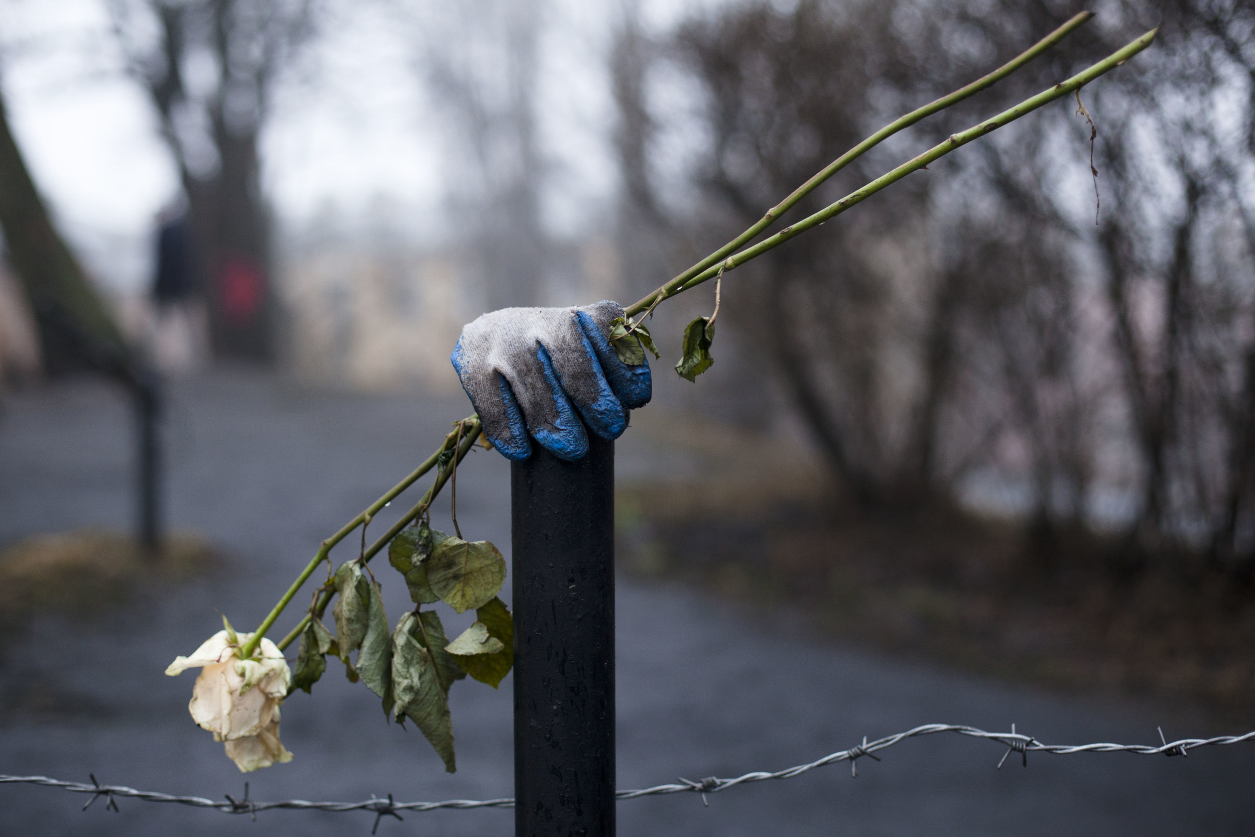 A flower and a glove are placed on a post as a memorial to those who died in late February's clashes in Kiev's Independence Square, Ukraine, Wednesday, March 5, 2014. (AP Photo/David Azia)