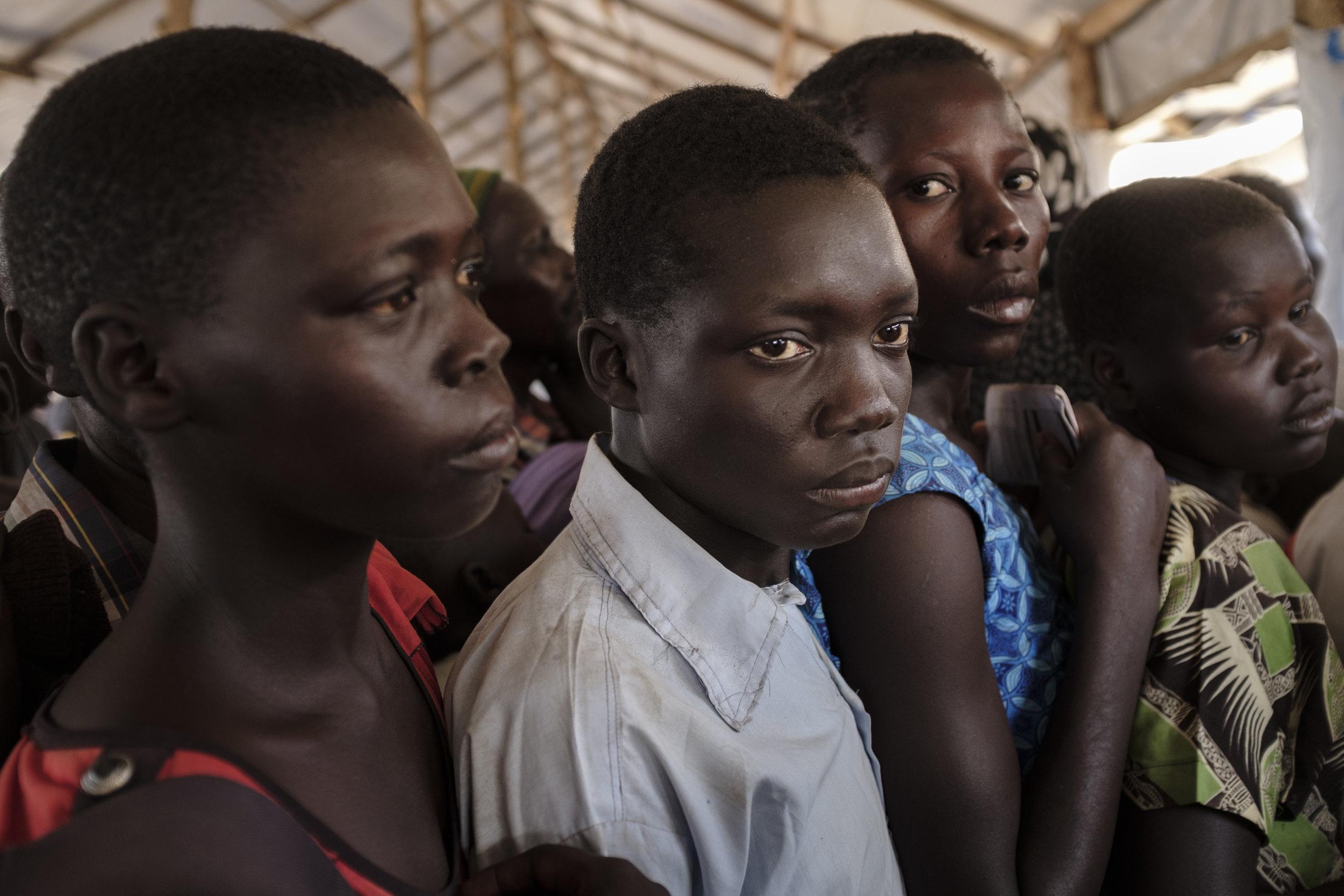 South Sudanese refugees queue to register at the Imvepi Reception Centre, Arua District, Northern Region, Uganda.