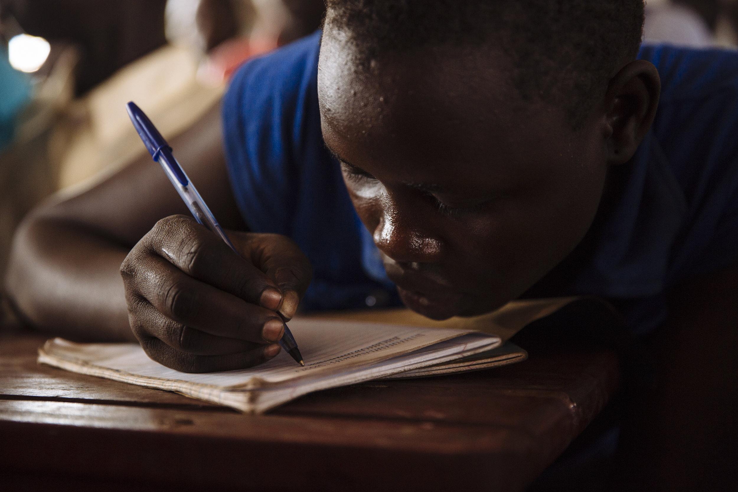 A student attends a mathematics class at the Ofonze Primary School in Bidibidi refugee settlement, Yumbe District, Northern Region, Uganda.