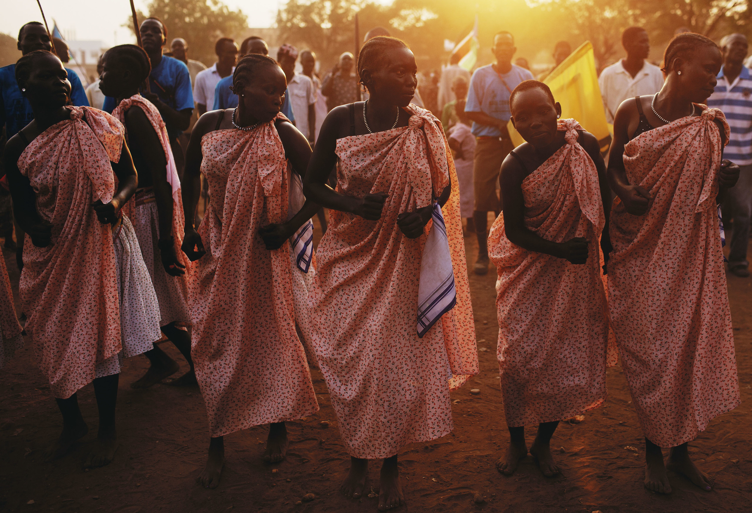 Women from the Bari community perform a traditional dance during celebrations on the eve of South Sudan's declaration of independence in Juba, southern Sudan, Friday, July 8, 2011. (AP Photo/David Azia)