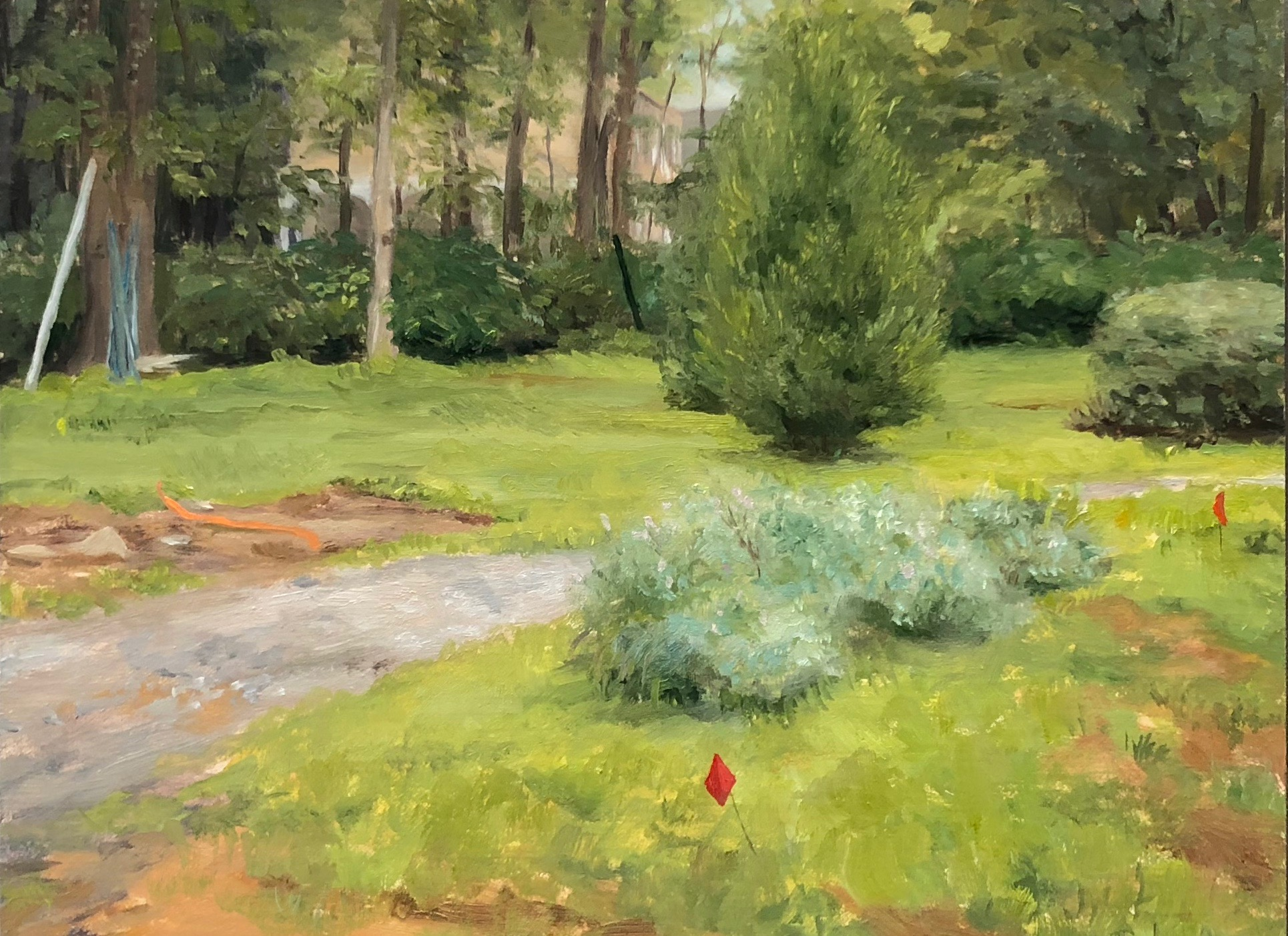 Yard Work Oil on panel 6 by 8 inches August 2018