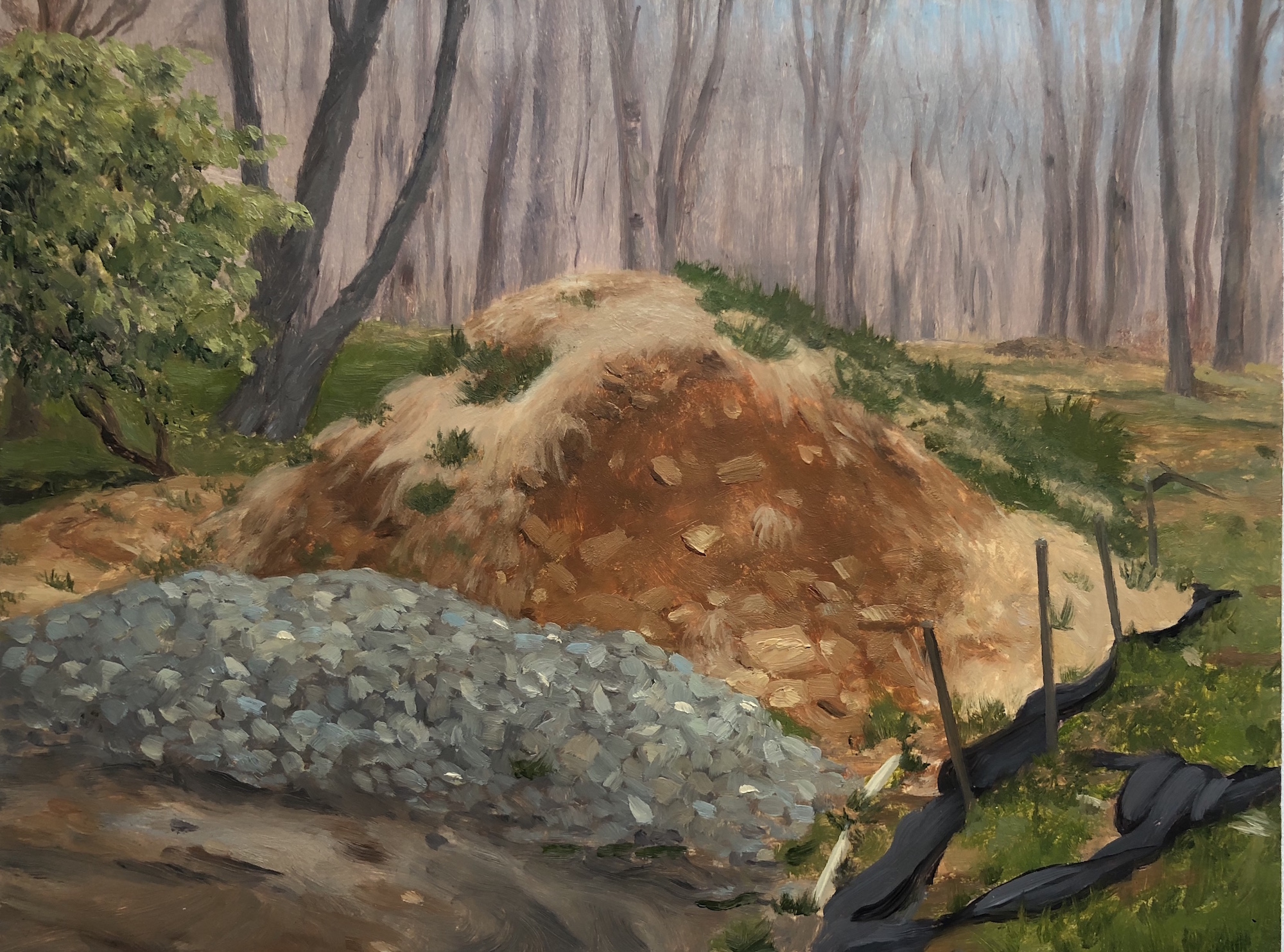 Dirt Pile With Coarse Gravel  (Dirt Pile #3) Oil on panel 5 by 8 inches April 29, 2018