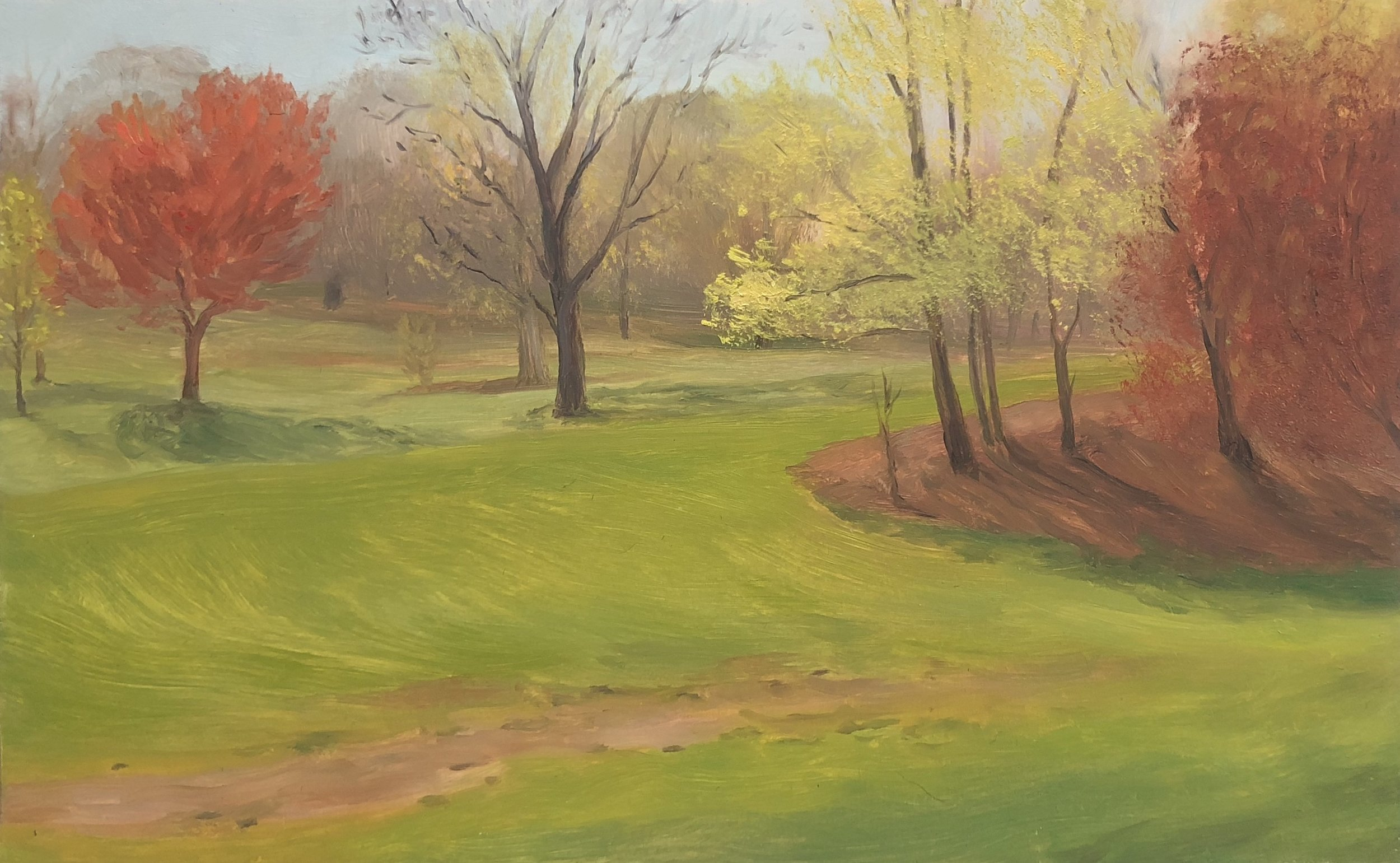 Prospect Park #1 Oil on panel 5 1/2 by 8 inches 2018