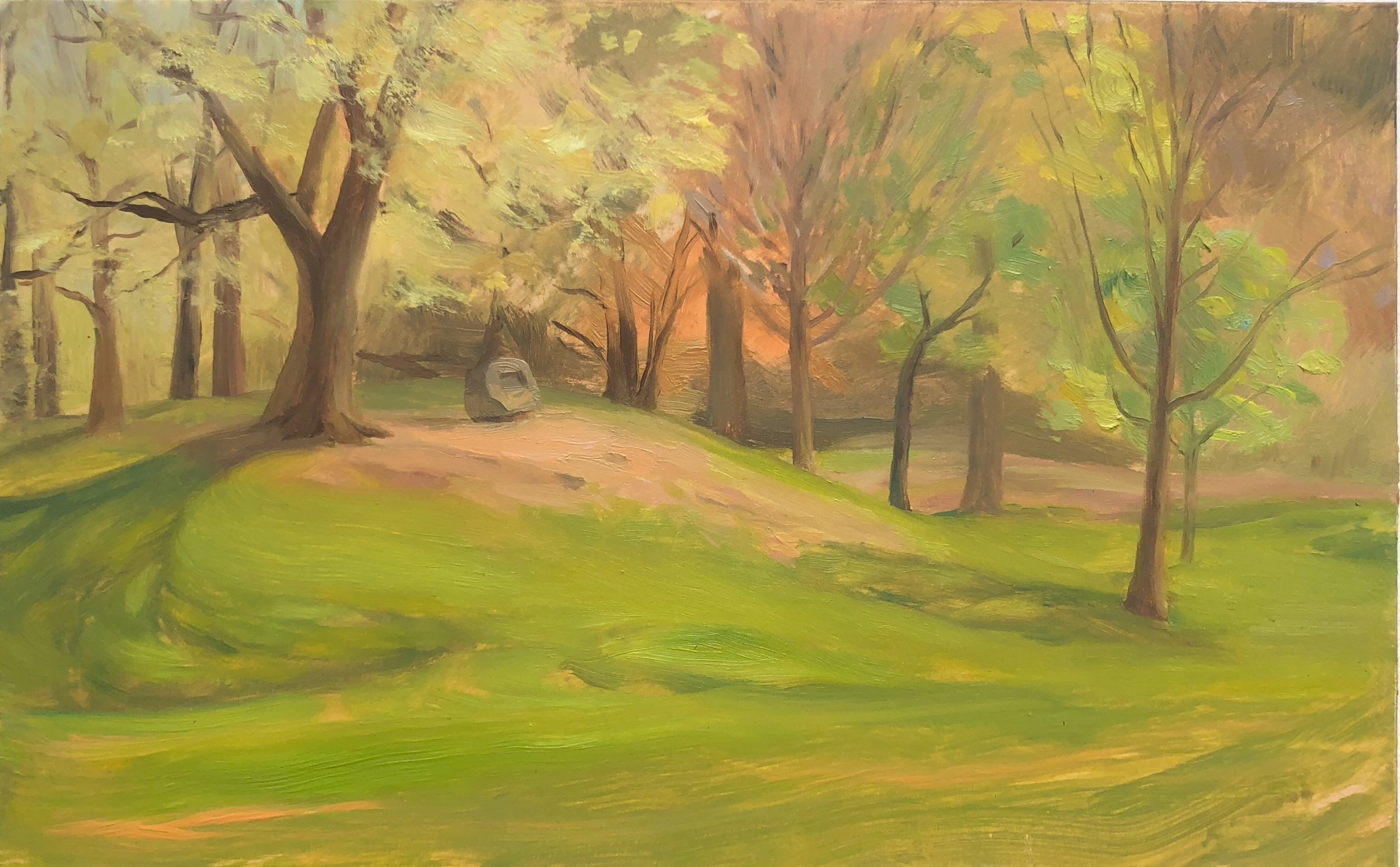Prospect Park #2 Oil on panel 5 by 8 inches 2018