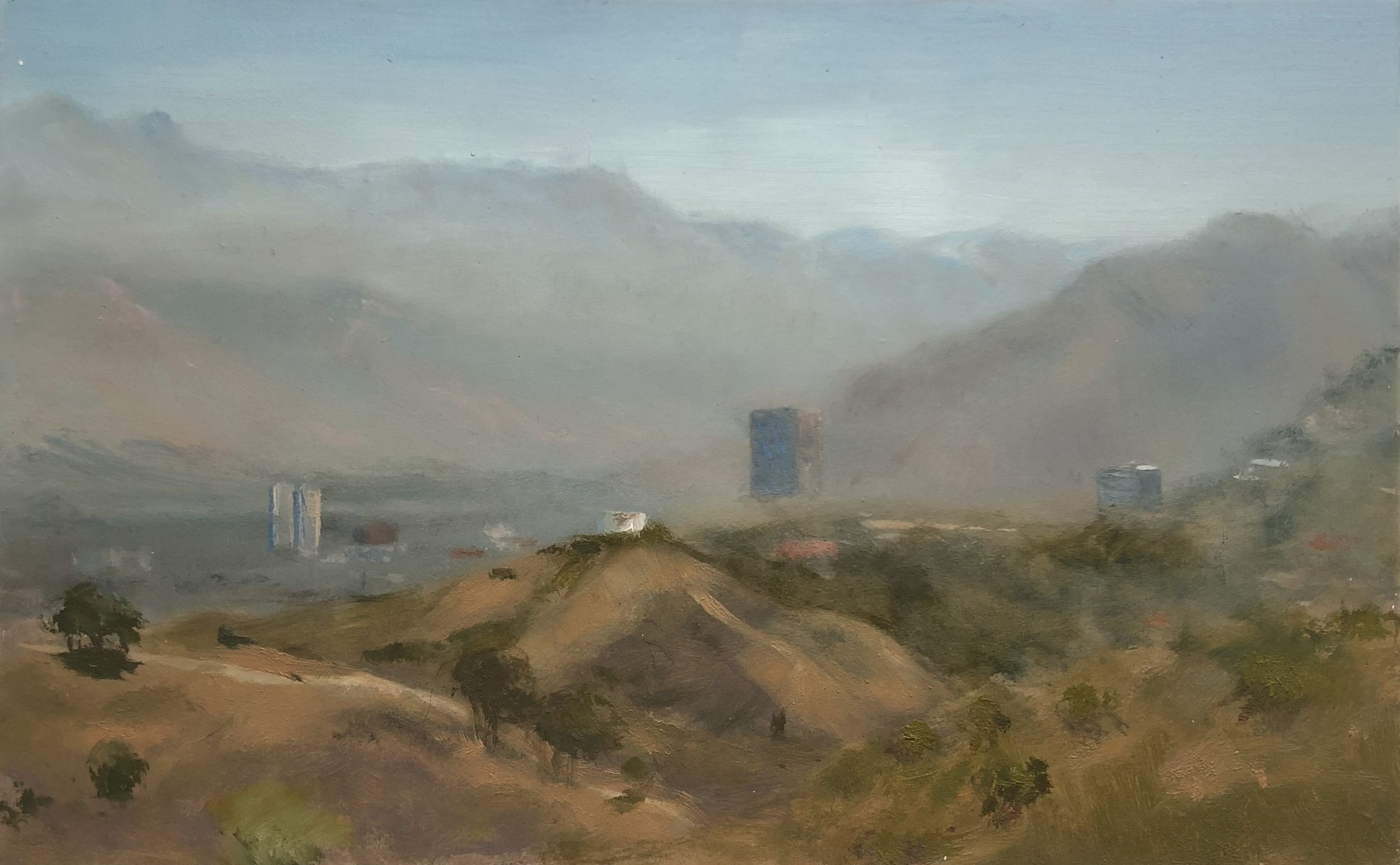 View of Burbank From Tree People Oil on aluminum 5 by 8 inches August 17, 2016