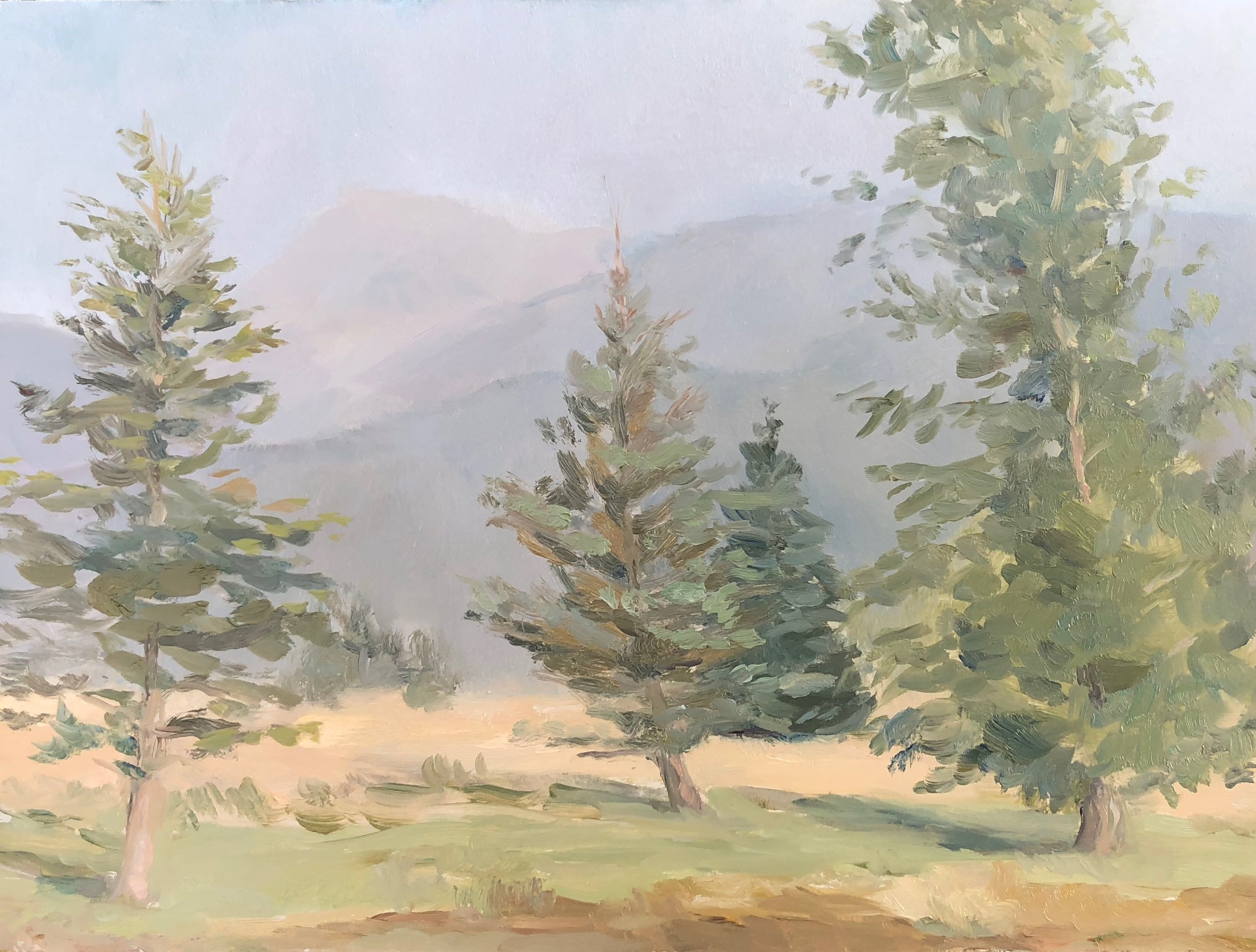 The Grand Tetons from Victor, ID 2018 6 by 8 inches Oil on linen panel