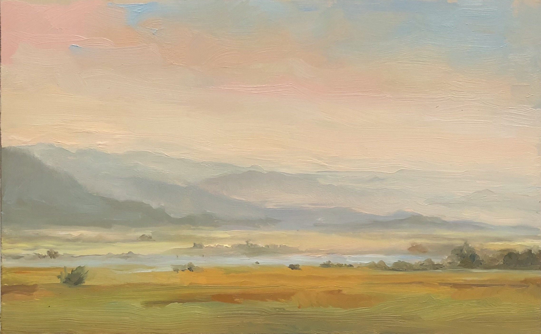 View West from Victor, ID 2018 5 by 8 inches Oil on panel