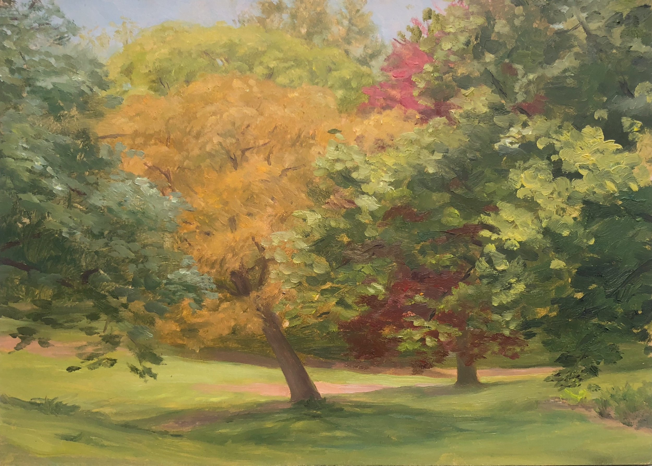 Prospect Park #4 Oil on panel 5 by 7 inches 2018