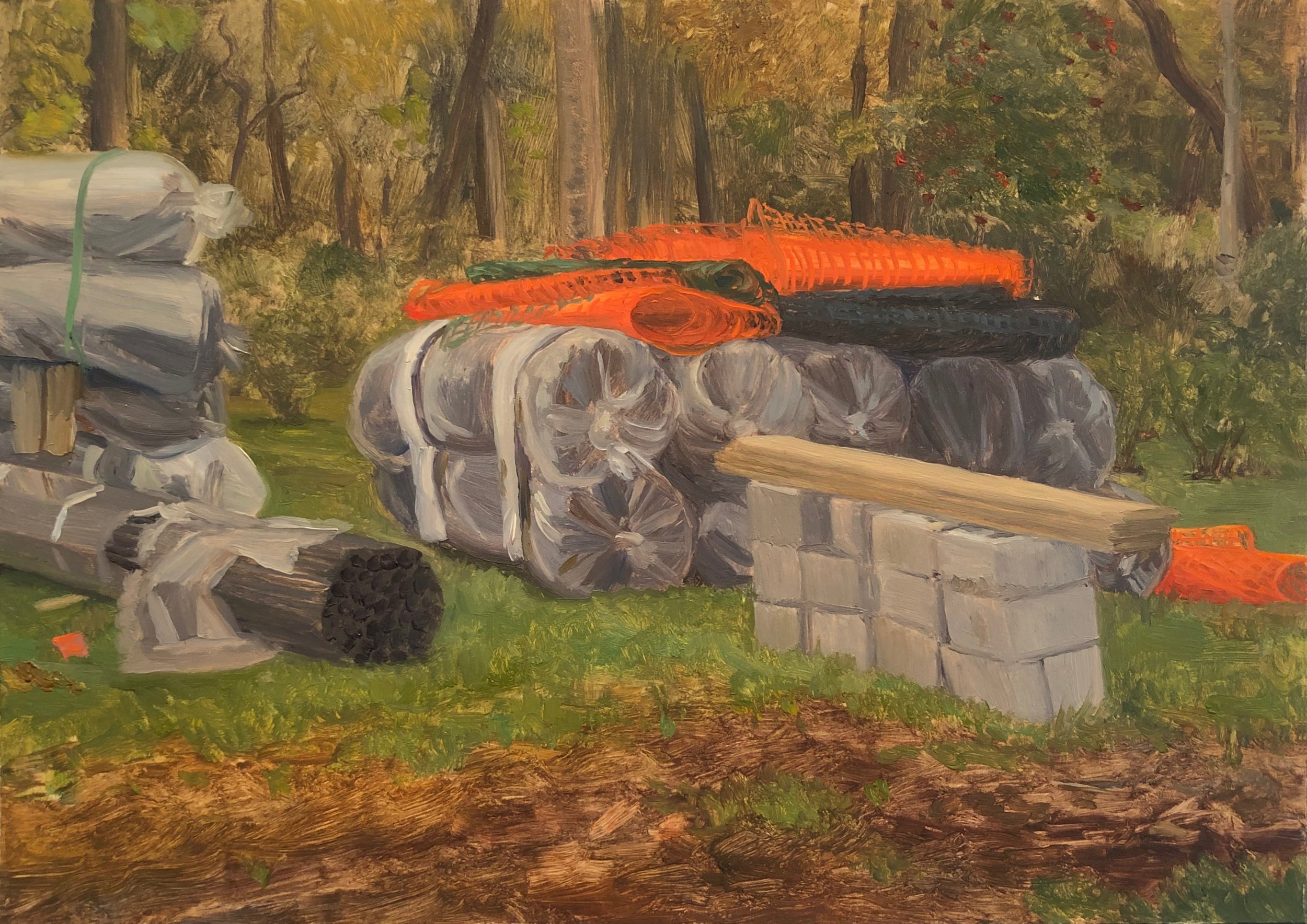 Fencing Supplies Oil on panel 5 by 7 inches September, 2018