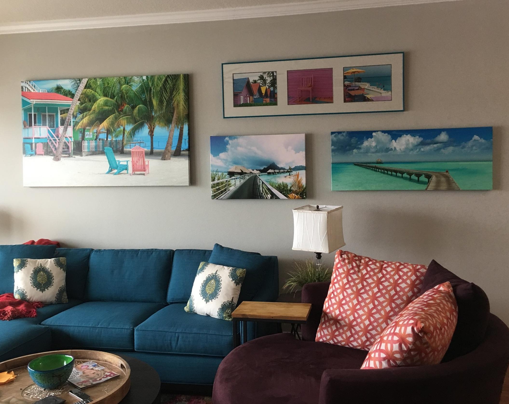 colorful living room accessorizing art work custom pillows