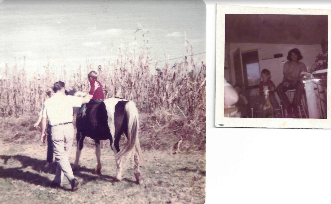 (left) Dad tossing me up onto my first horse, Scout at age 6.  (right) Me on my rocking horse in the kitchen.