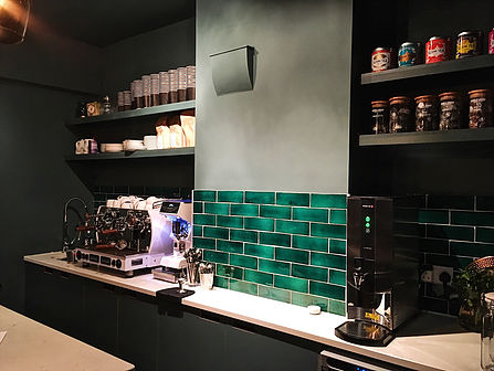 milagros  crackle glaze tiles  interior design  interior designer  cafe design  cafe designer  commercial interior design  inchyra blue  farrow and ball  Rothschild and bickers