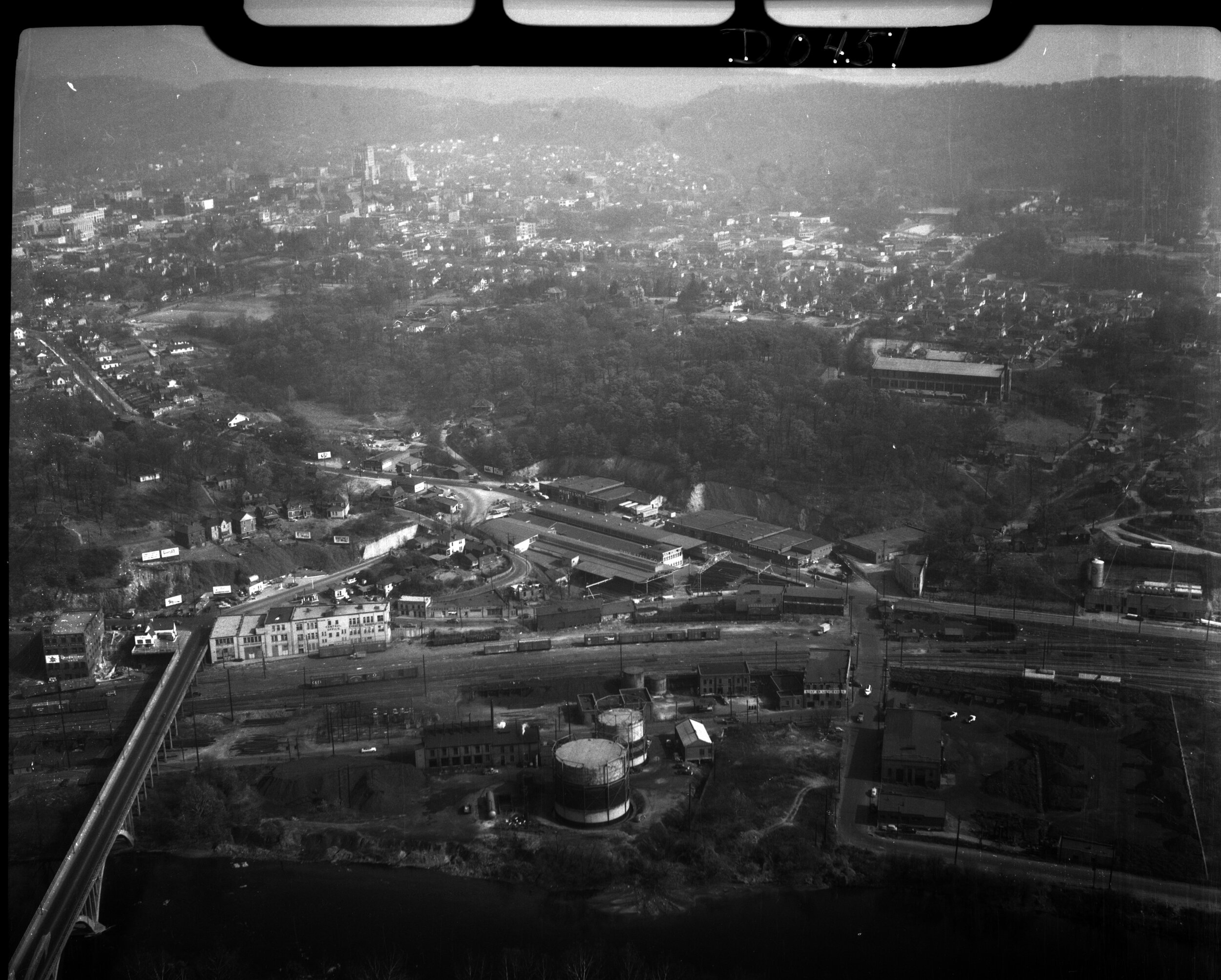 Aerial photo of the City of Asheville with CURVE Studios in the foreground. Taken in the 1950s by Samuel A. Bingham Jr.