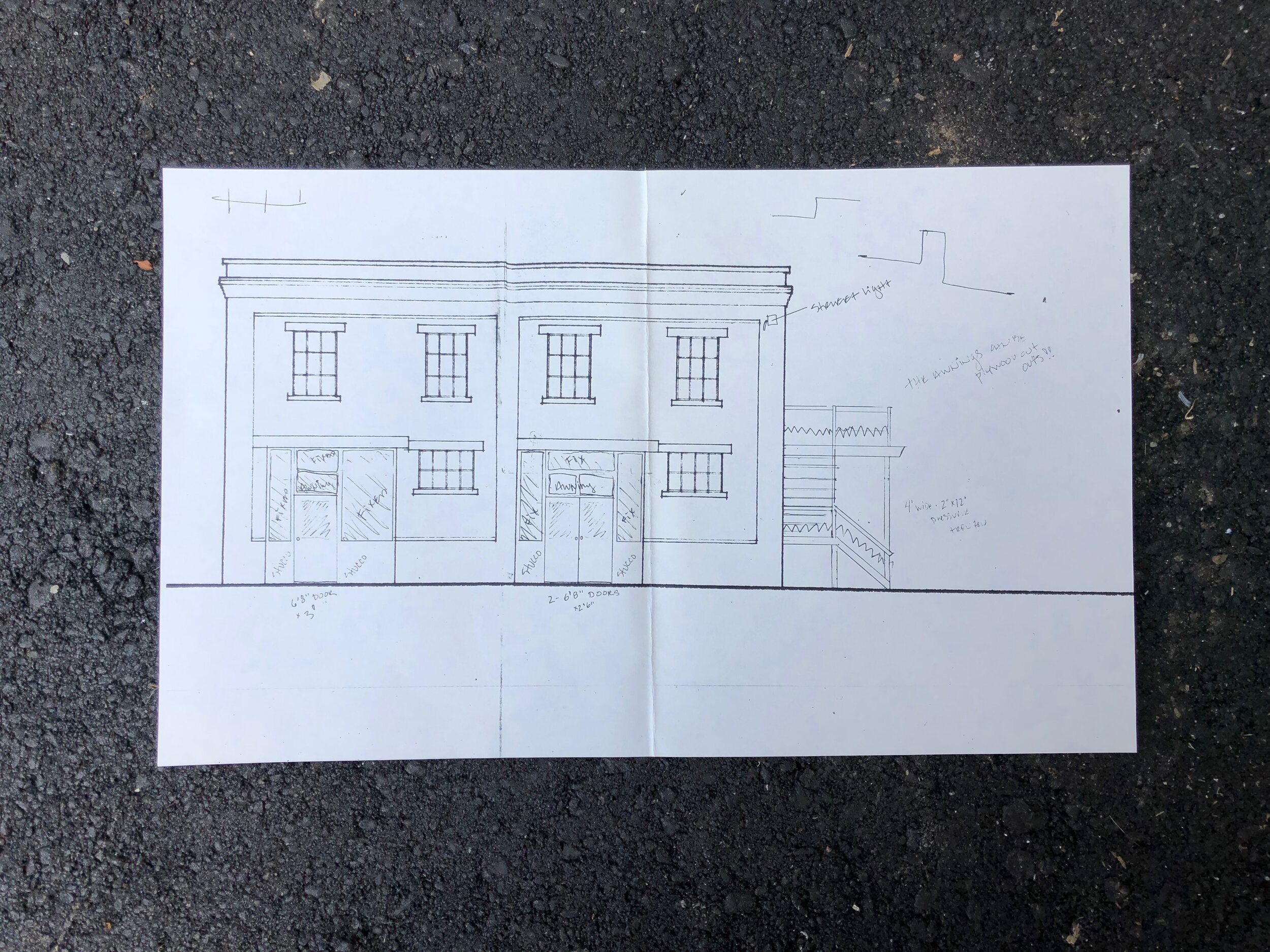 Architectural drawing from 1992 of #7 River Arts Place