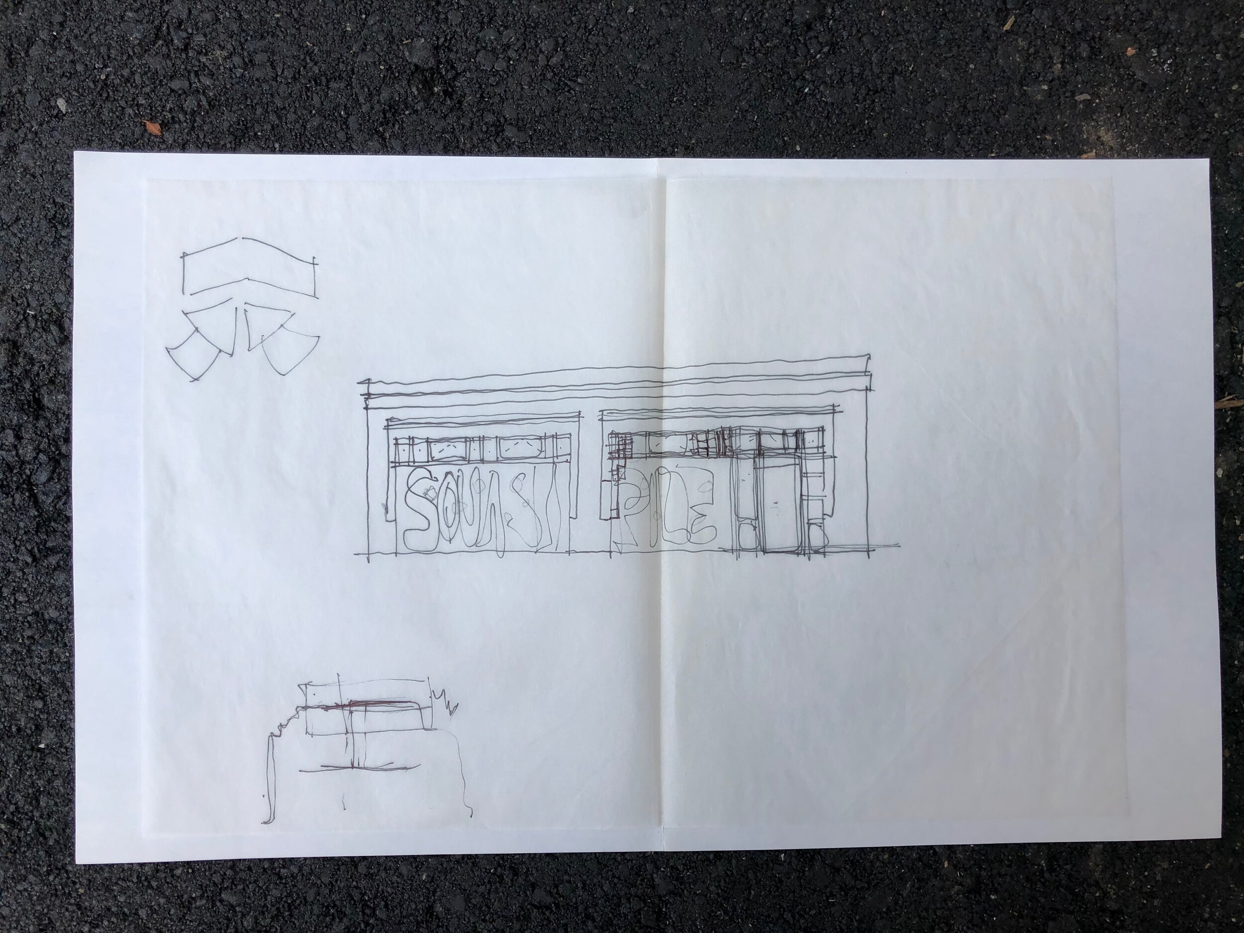 Concept drawing of #3 River Arts place when it was Squash Pile, Asheville's drug-free, smoke-free, alcohol-free punk rock club open January 1990- November 1991.