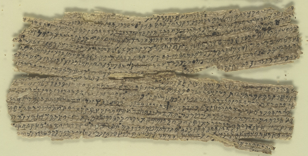 Gandhara birchbark scroll fragments (c. 1st century) from British Library Collection. (Click on image to enlarge.)