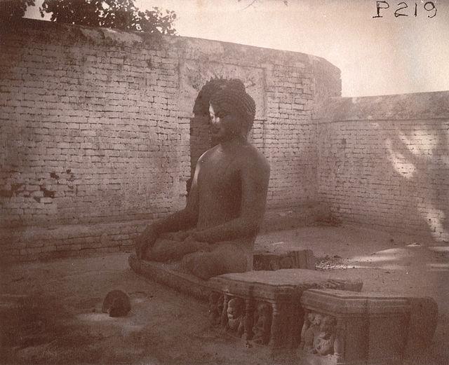 Buddhist Statue - Nalanda.  Photo credit: Alexander E. Caddy, 1895.